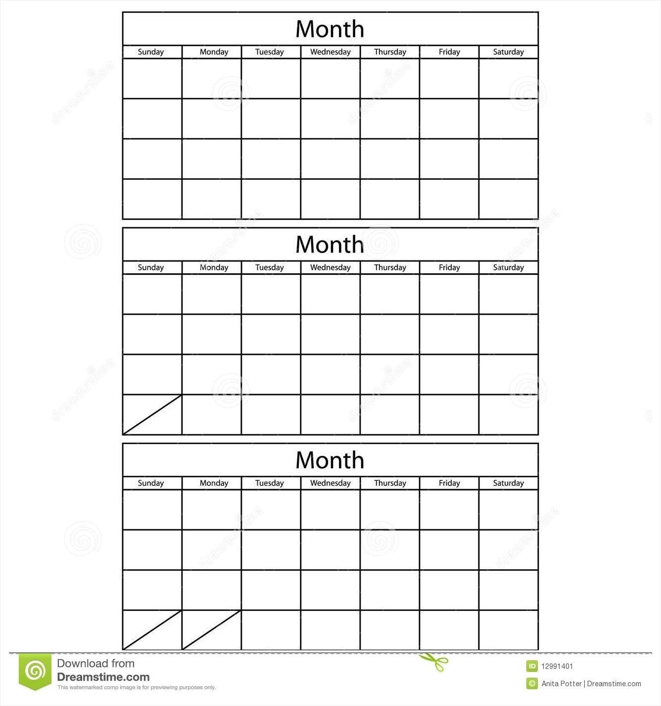 3 Month Calendar Template Word Printable 2017 Blank April Calendar