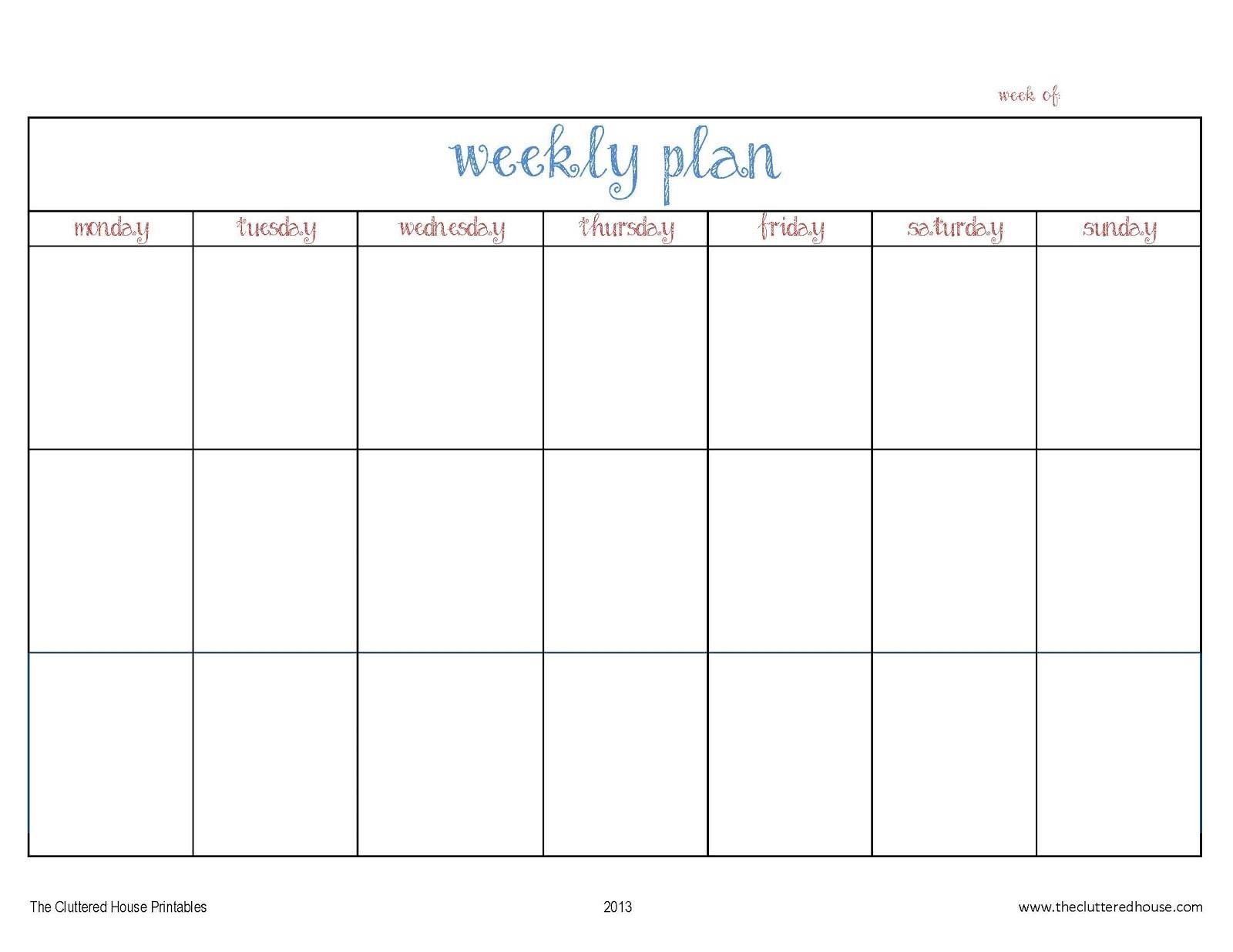 3 Week Blank Calendar