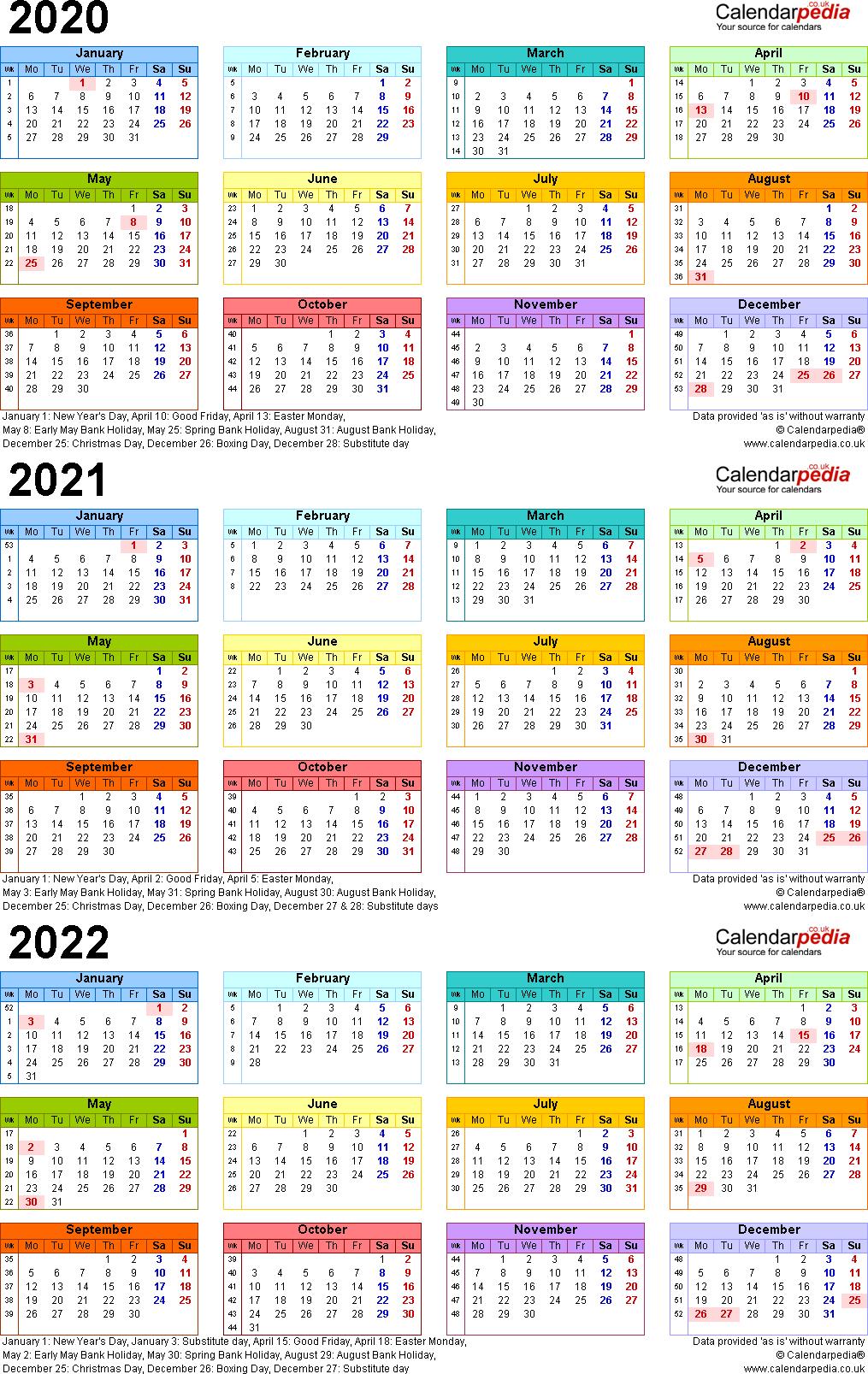 3 Year Calendar 2020 To 2022
