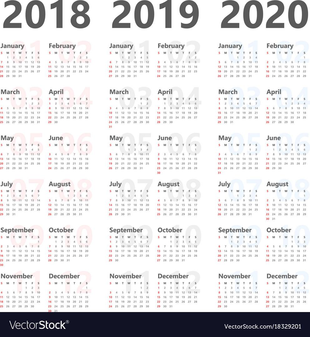 3 Year Calendar 2020