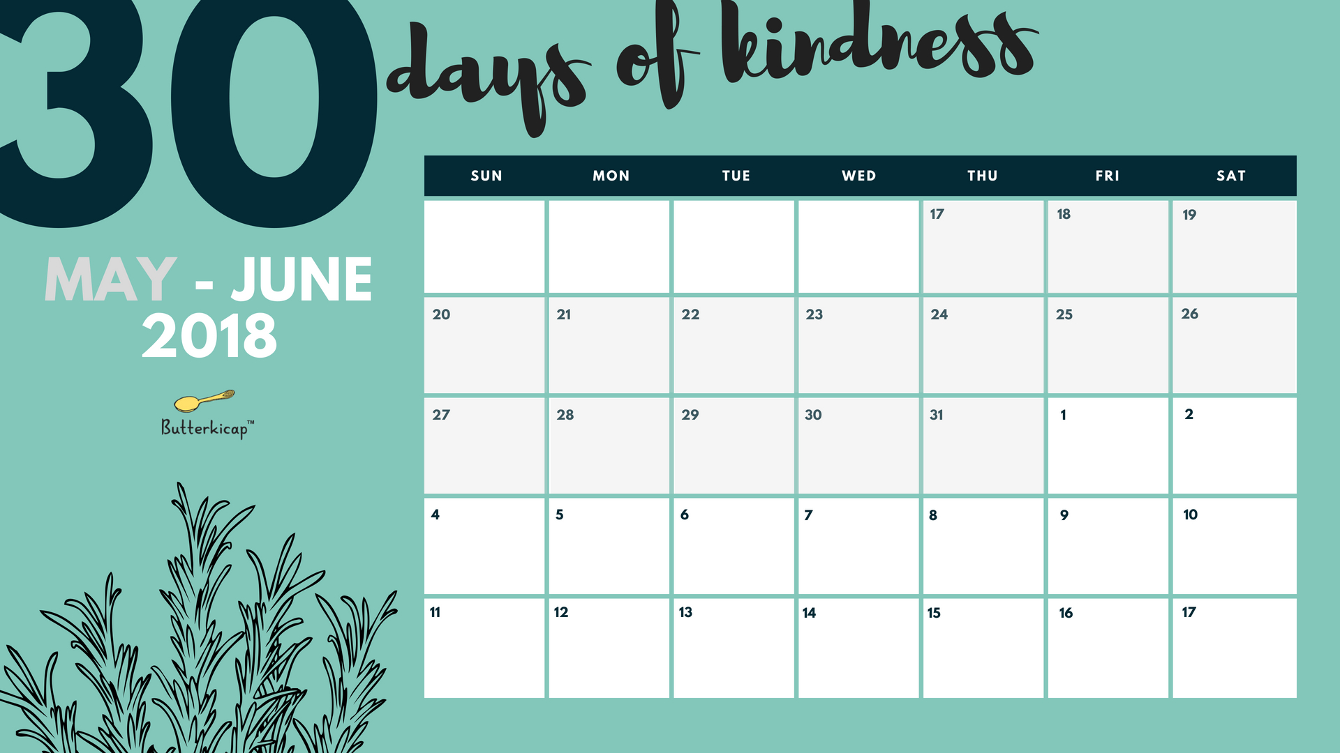 30 Days Of Kindness For Ramadan Calendar - Butterkicap