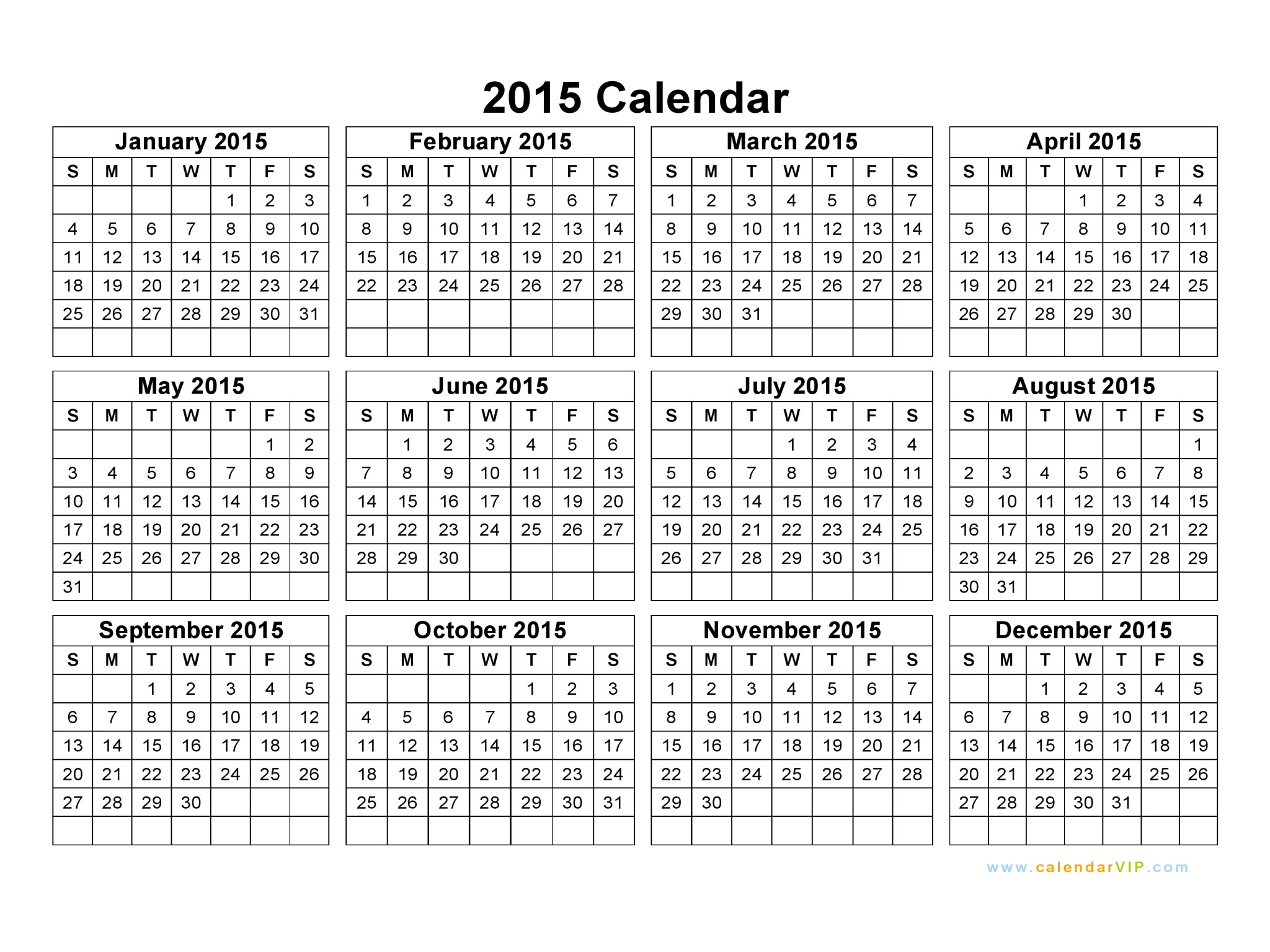 4 4 5 Calendar 2015