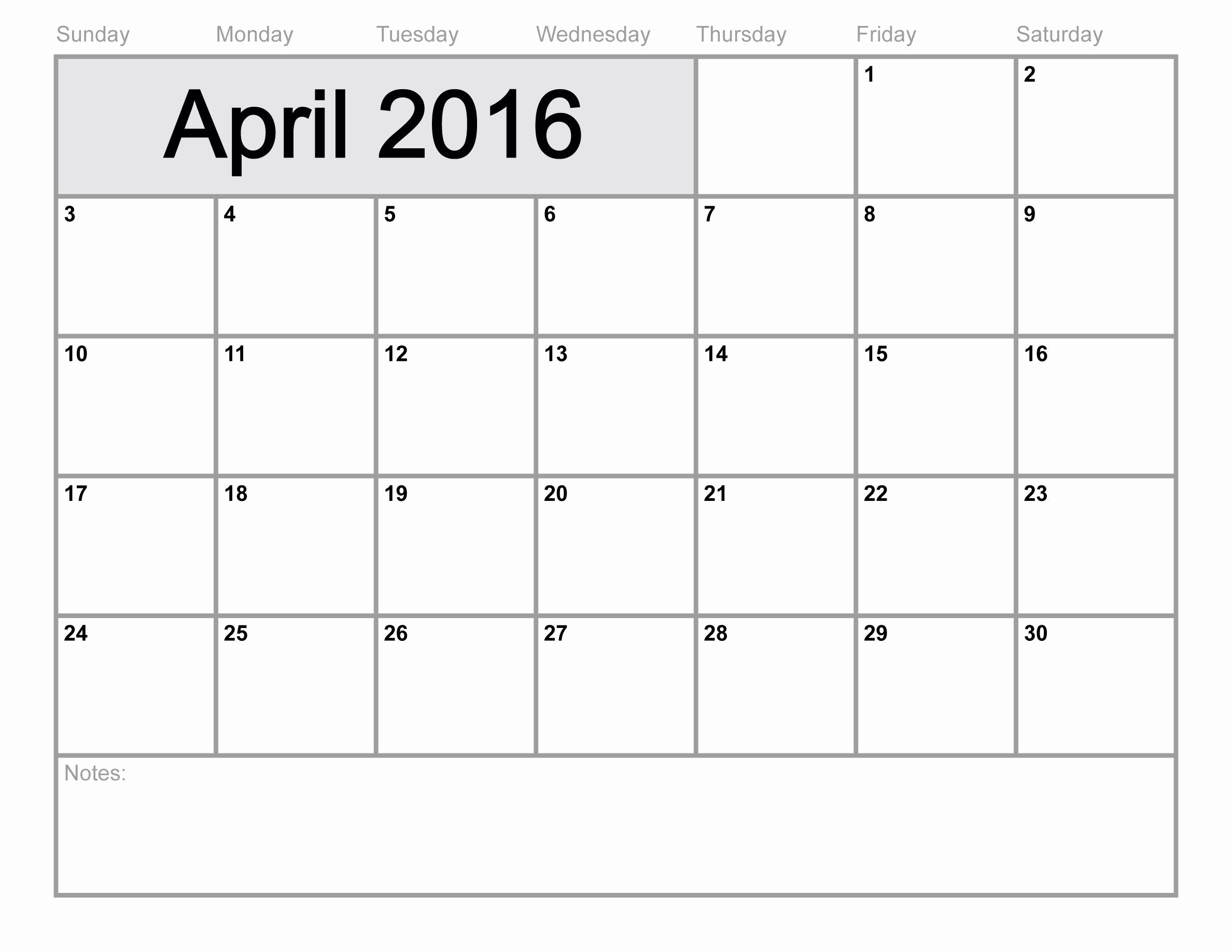 4 Week Calendar Blank