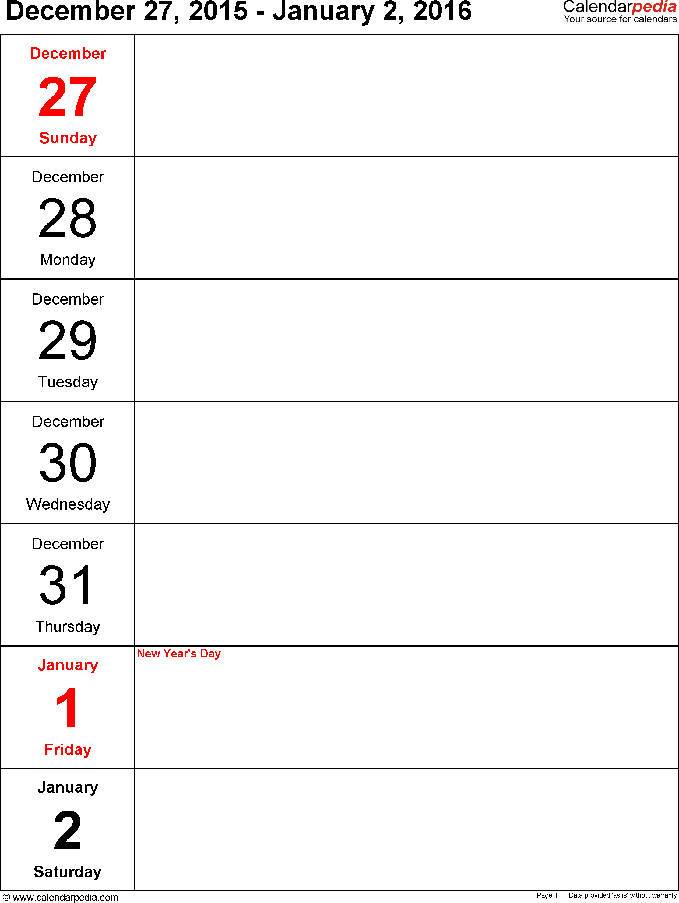 5 Day Blank Calendar Free
