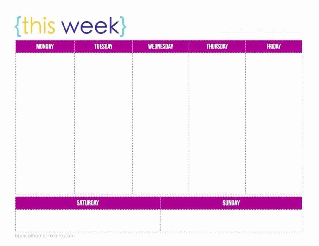5 Day Calendar Blank