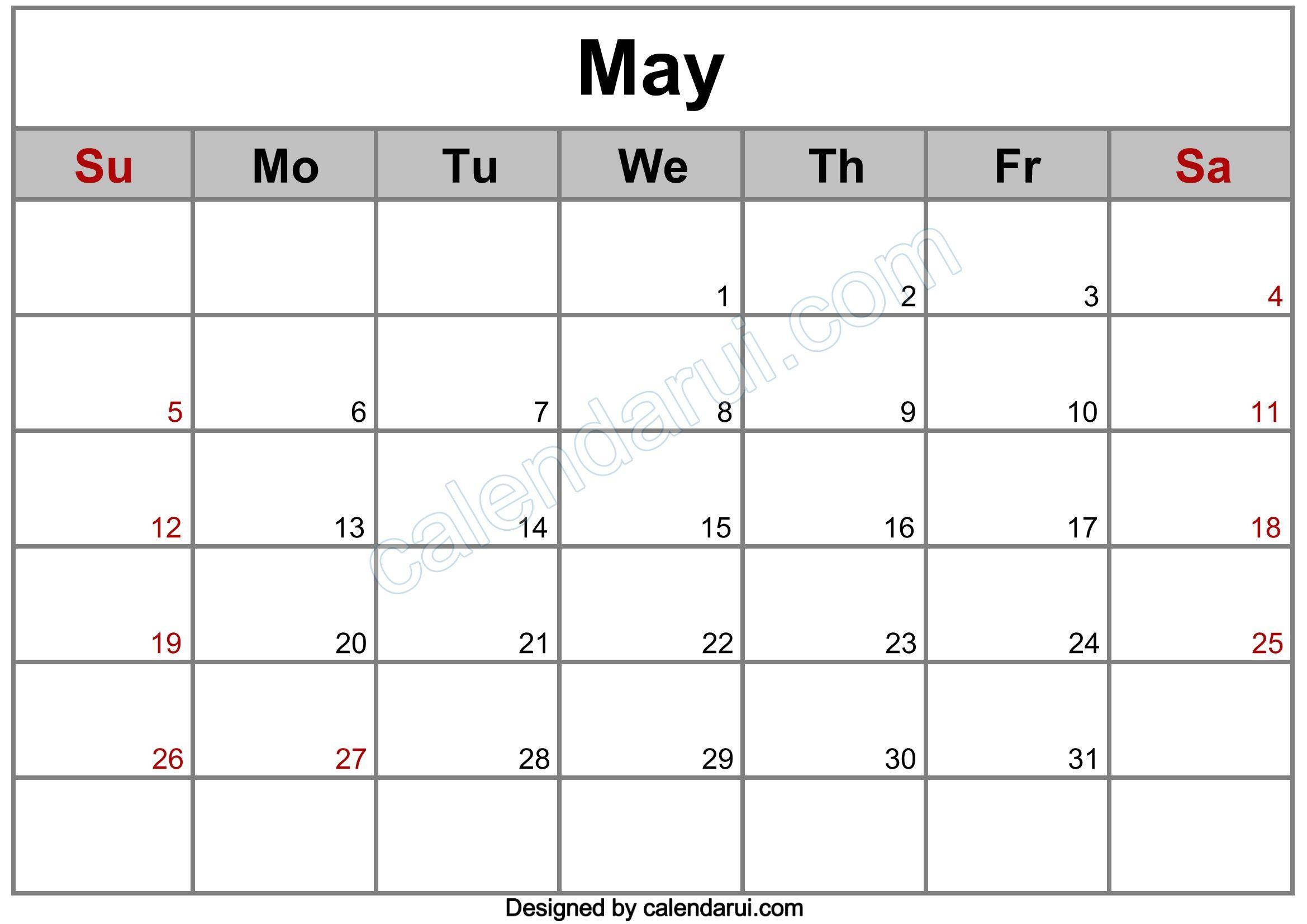5 May Blank Calendar Template Example