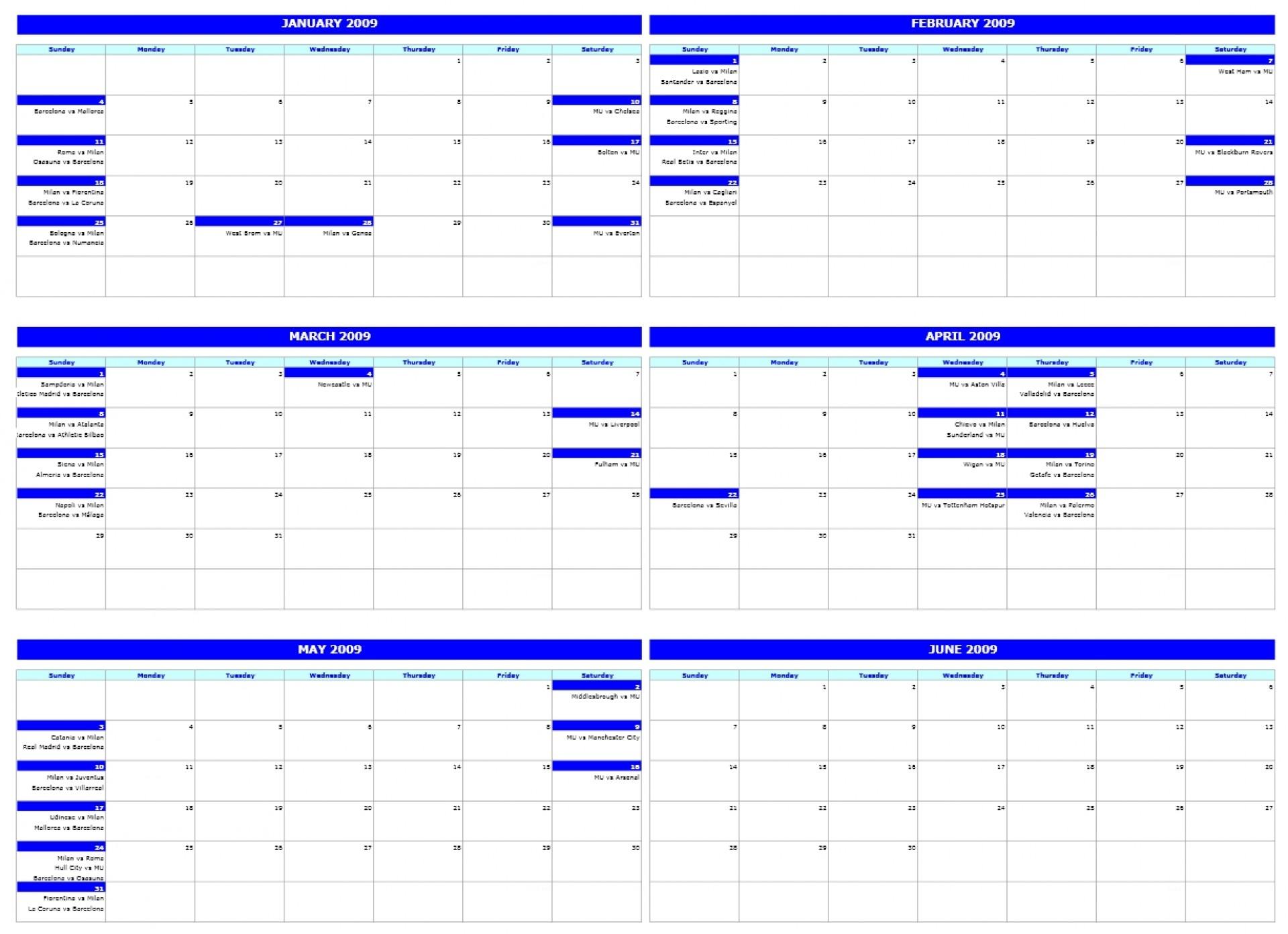 6 Month Blank Calendar Template