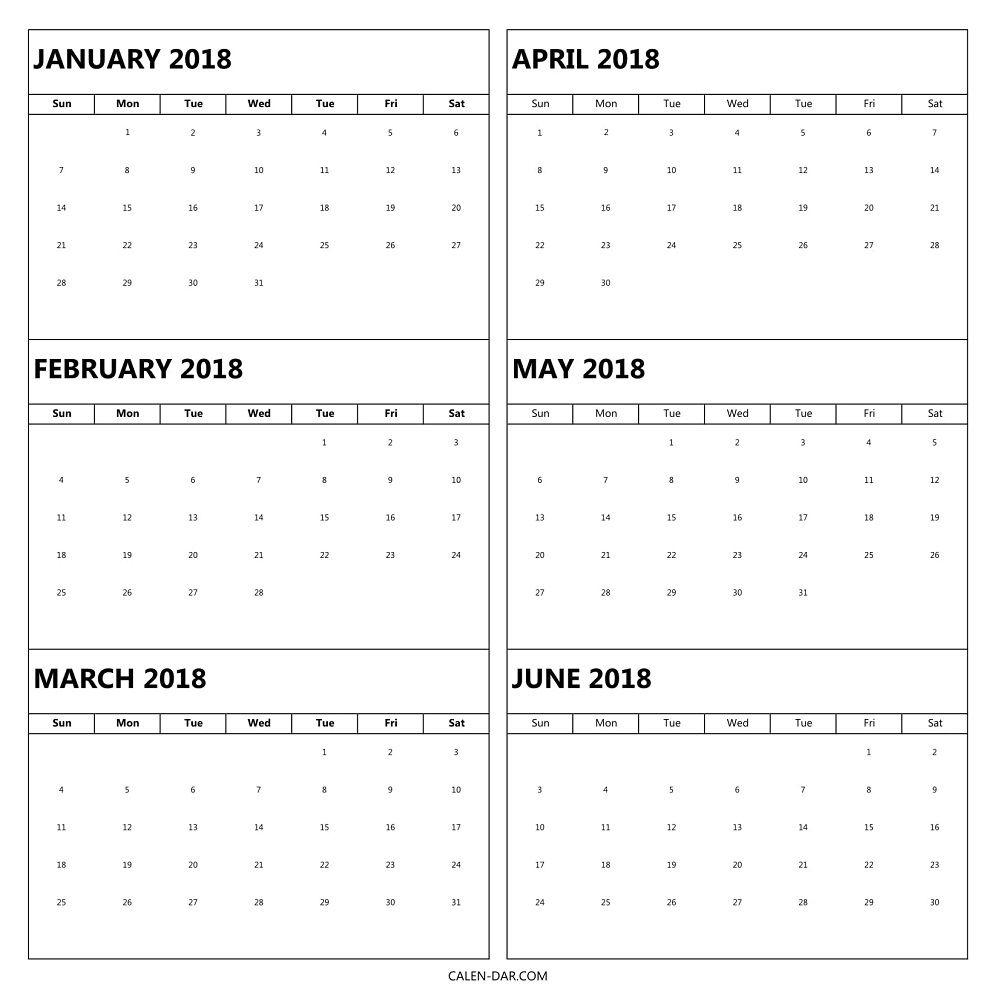 6 Month Calendar Blank