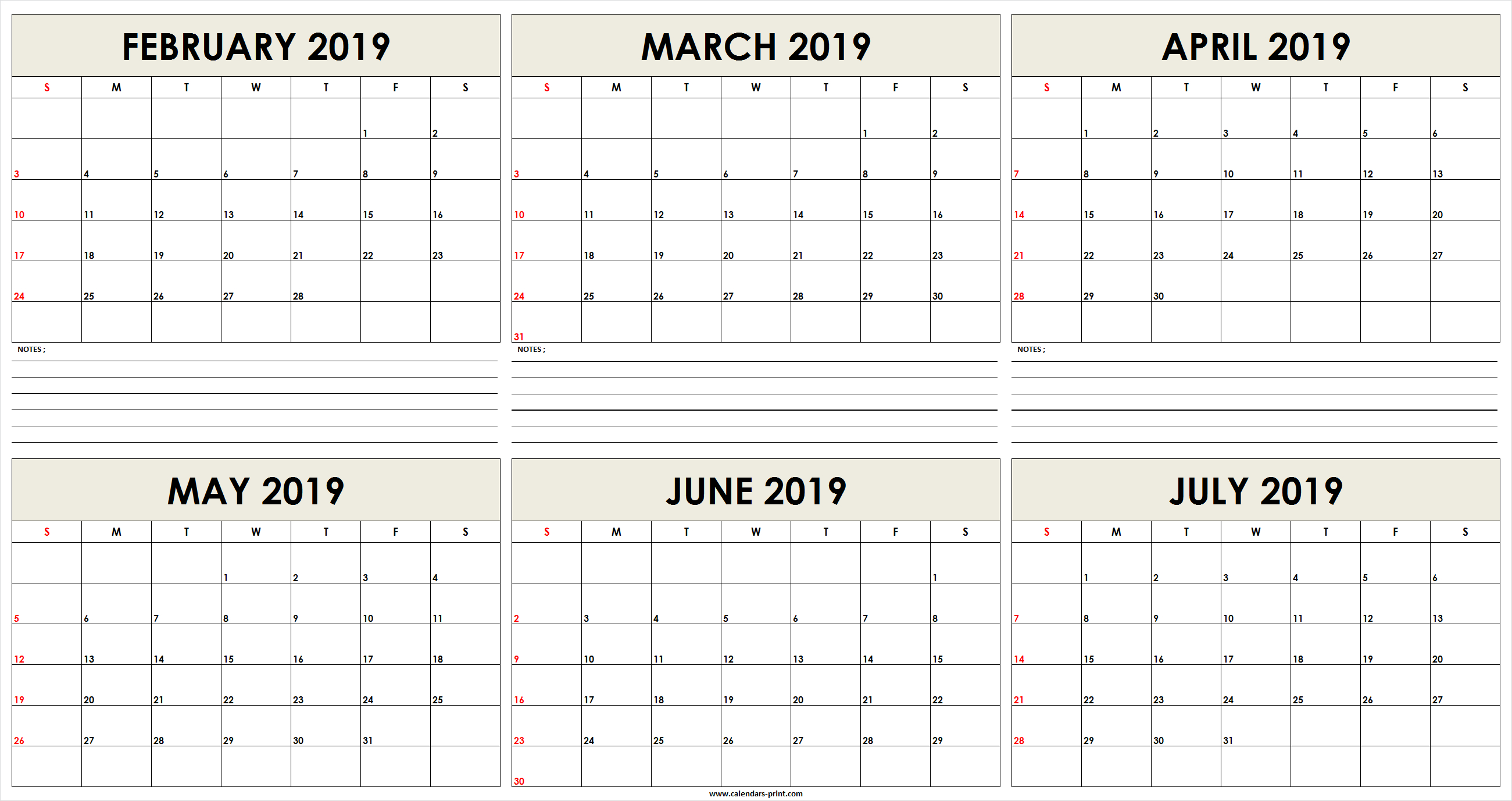 6 Month February 2019 To July 2019 Calendar Template - Free