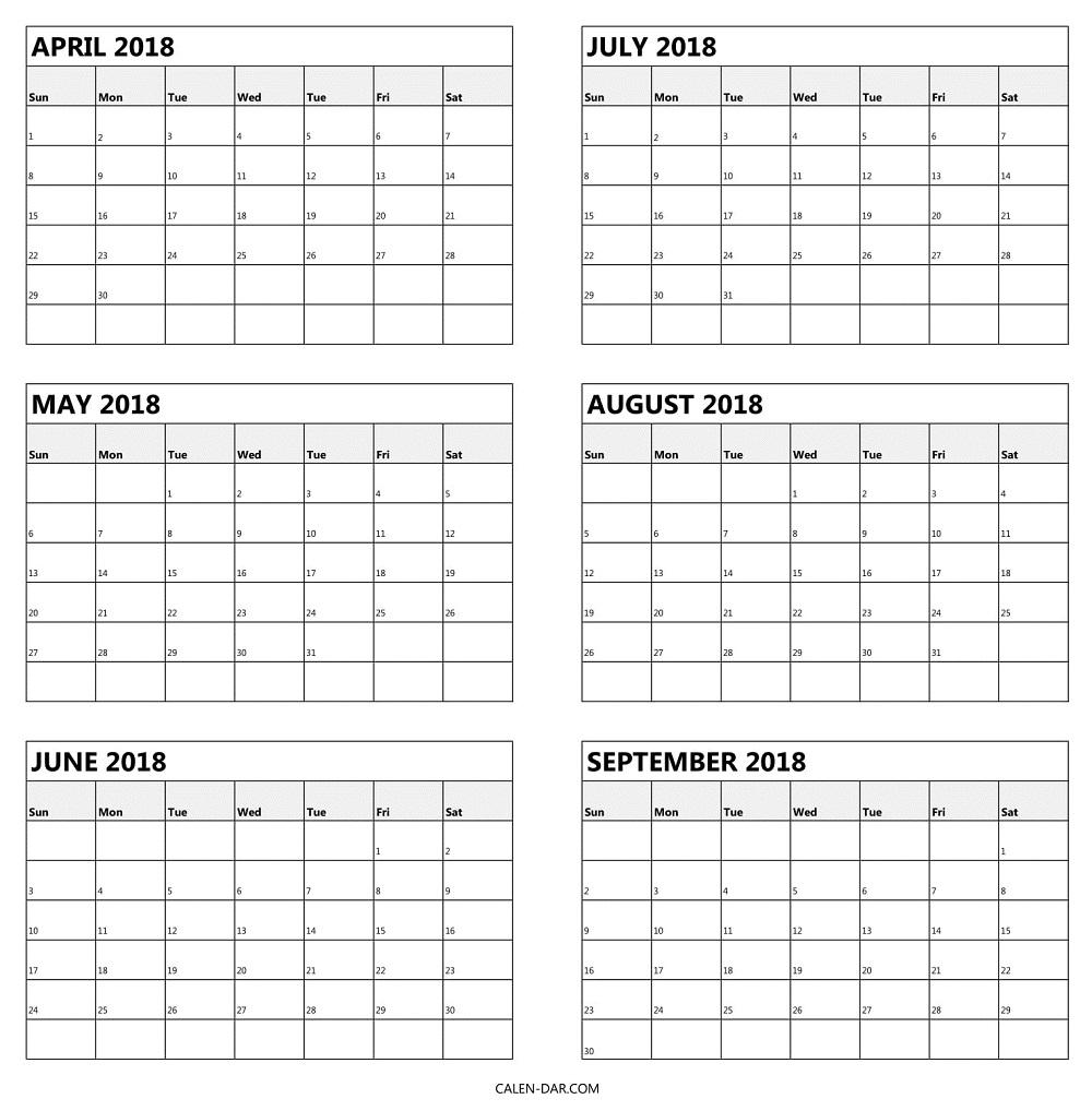 6 Month Printable Calendar