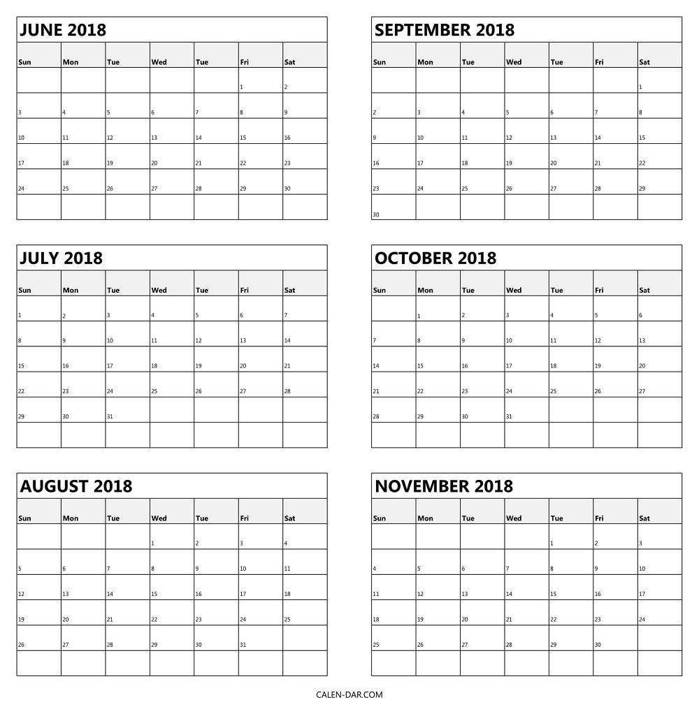 6 Month Printable Calendar • Printable Blank Calendar Template