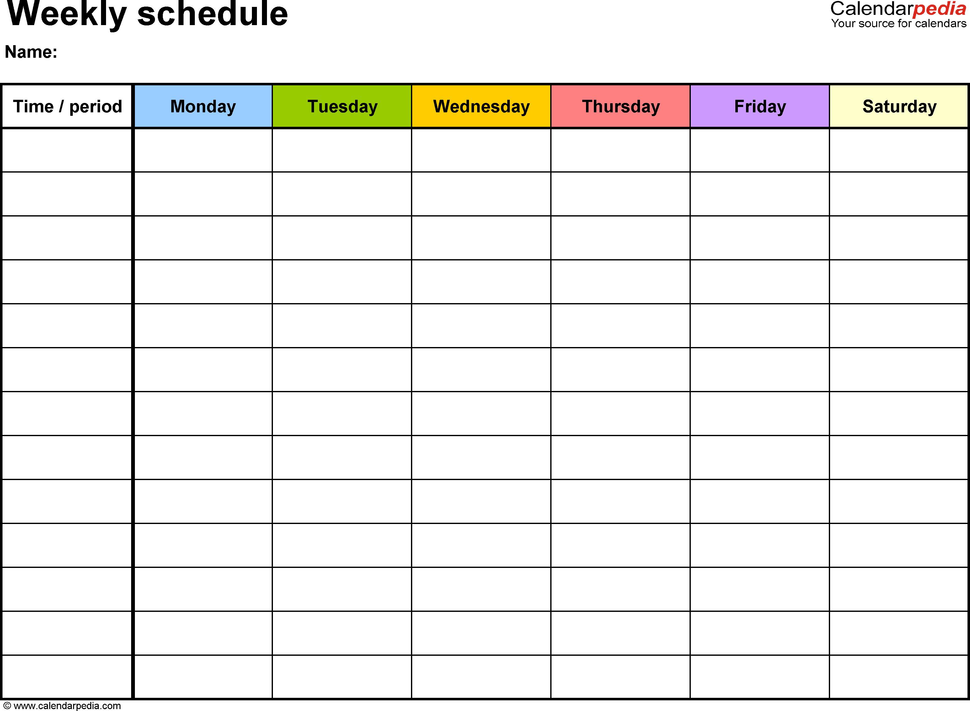 6 Week Calendar Blank