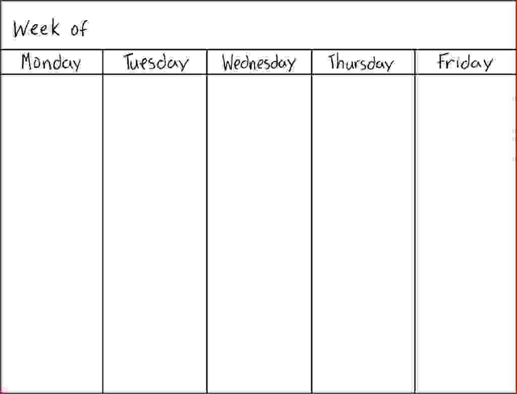 7 Day Blank Calendar Template