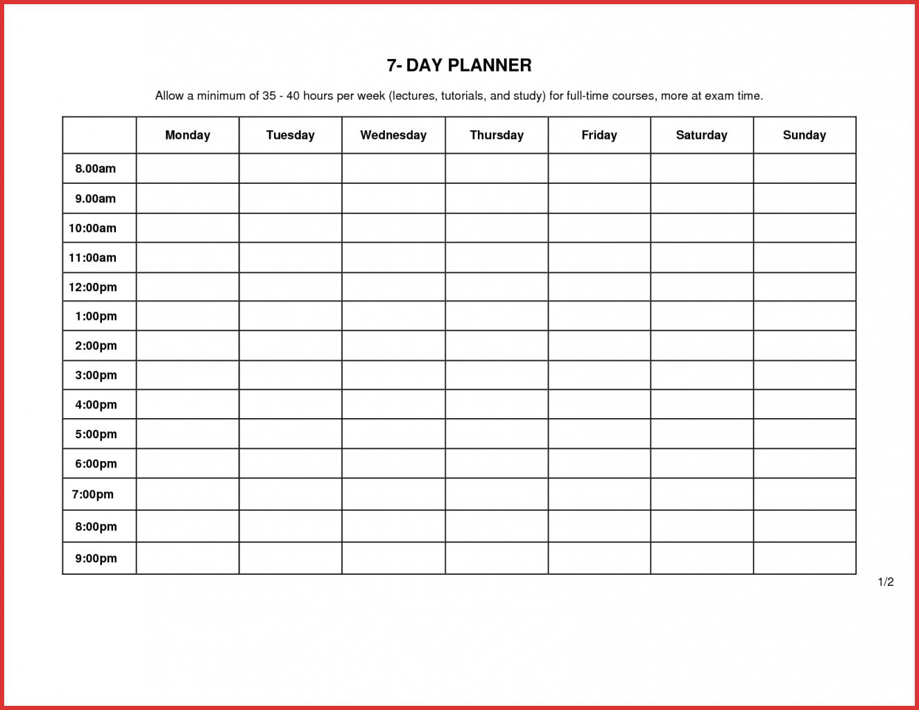 7 Day Calendar Template - Agadi.ifreezer.co
