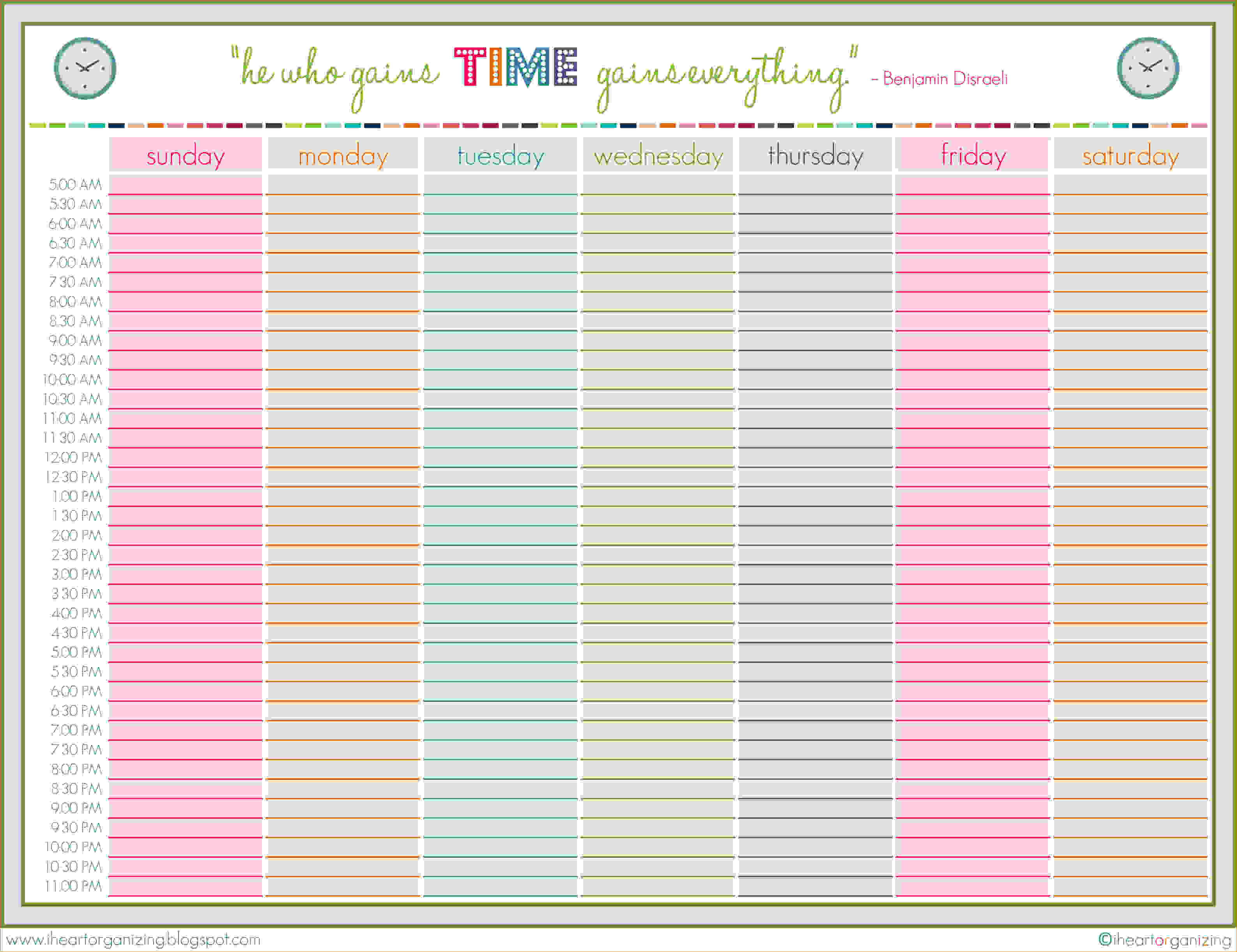 8 Week Blank Calendar Template