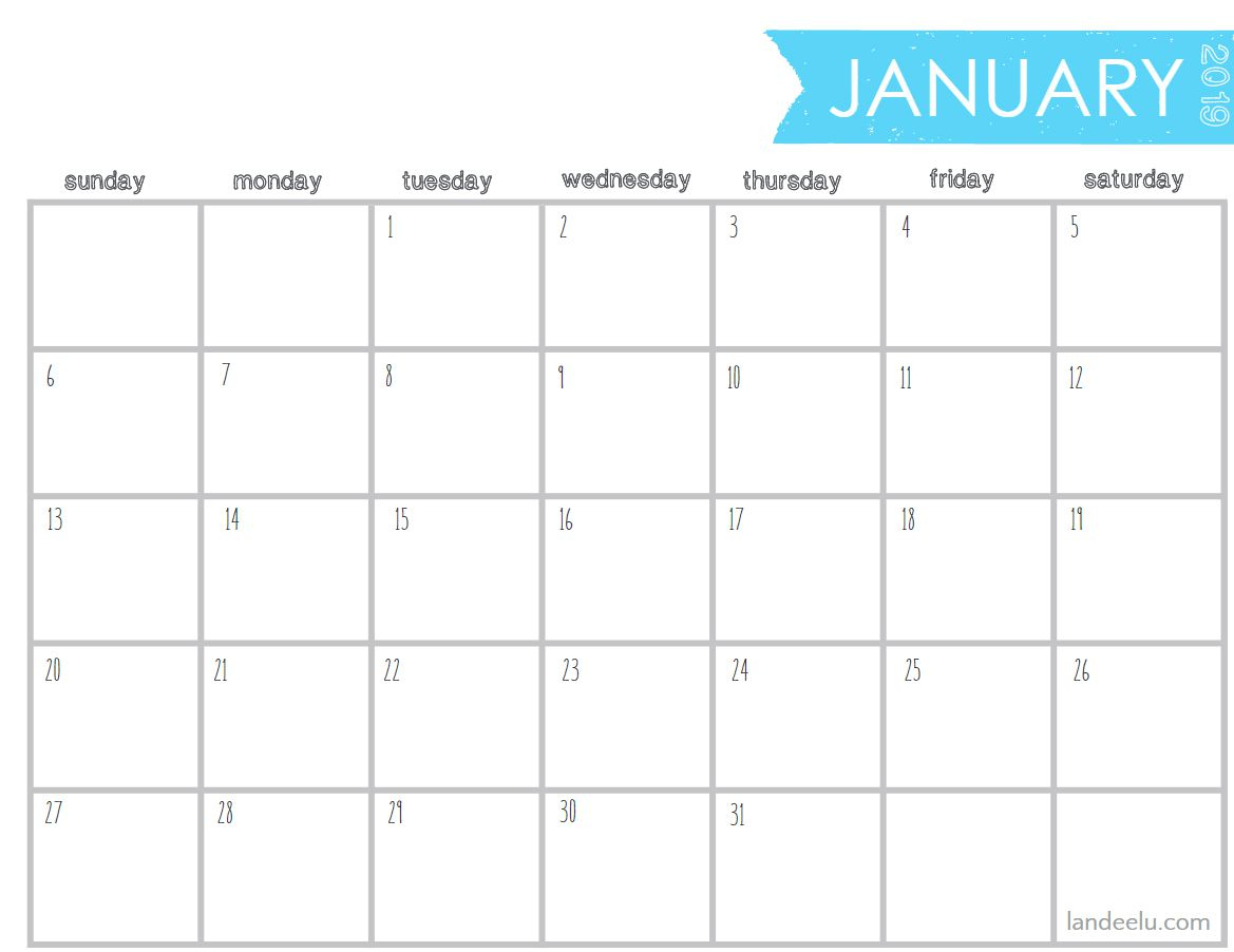 8 X 10 Blank Calendar