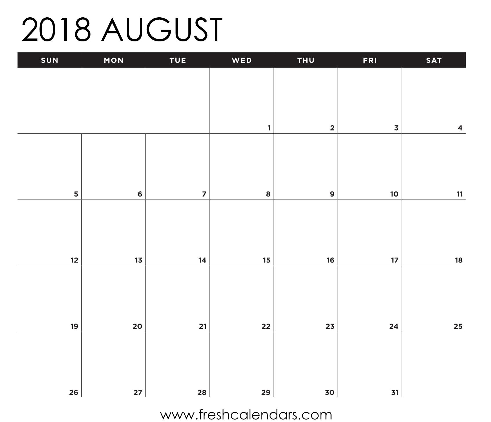 8 X 10 Blank Calendar Template