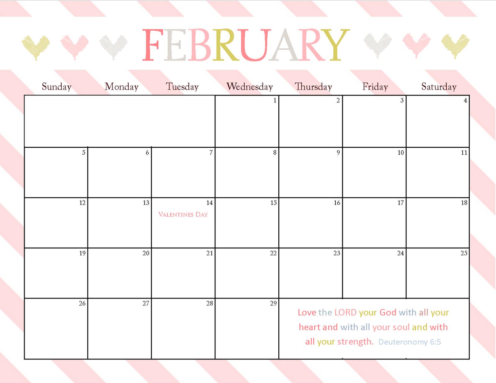 8 X 11 Blank Calendar