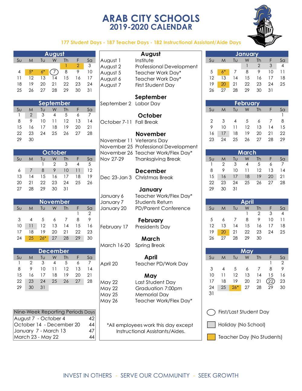 Academic Calendars / 2019-20 Acs Calendar