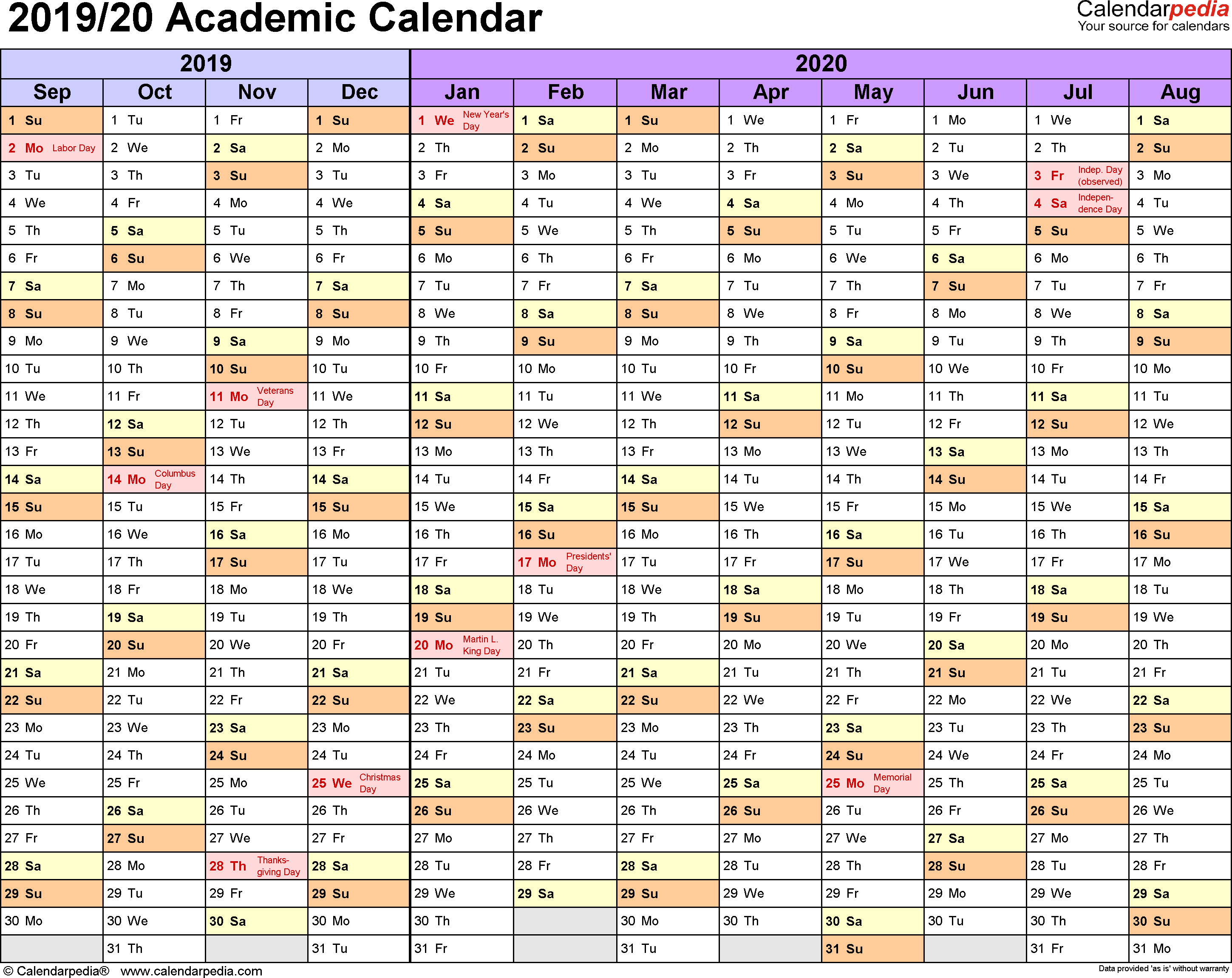 Academic Calendars 2019/2020 - Free Printable Pdf Templates