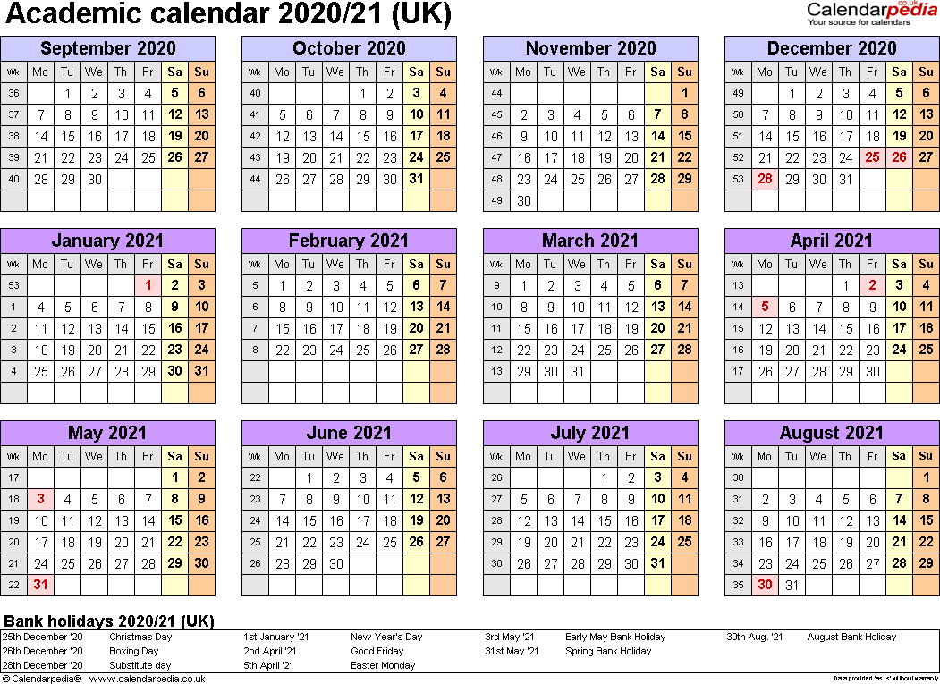 Academic Calendars 2020/2021 As Free Printable Word Templates