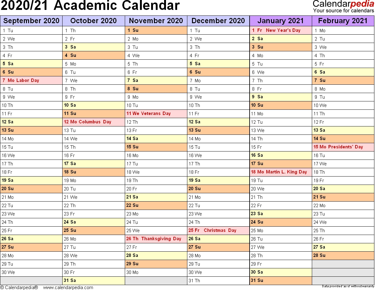 Academic Calendars 2020/2021 – Free Printable Excel Templates 2020