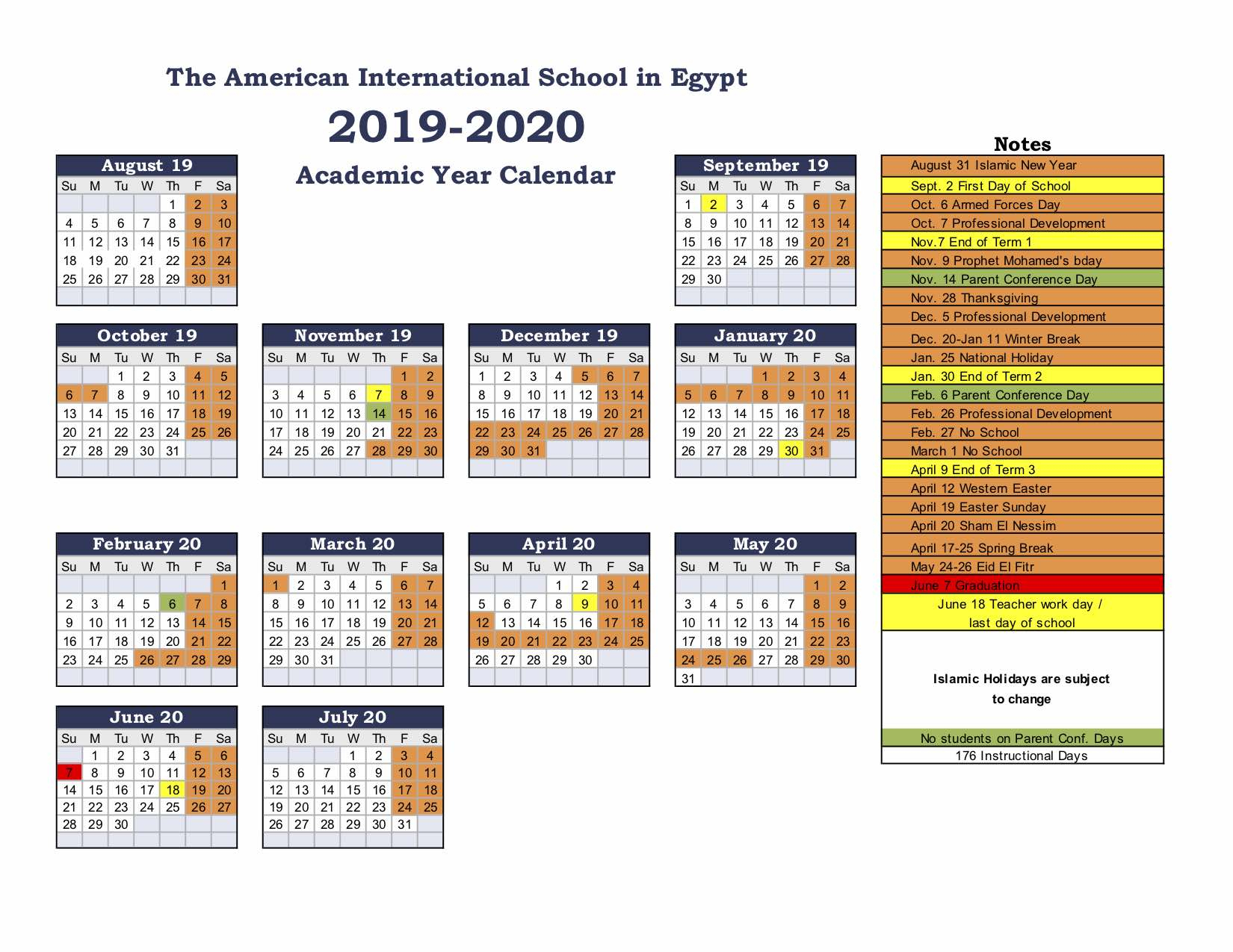 American International School Of Egypt: School Calendar