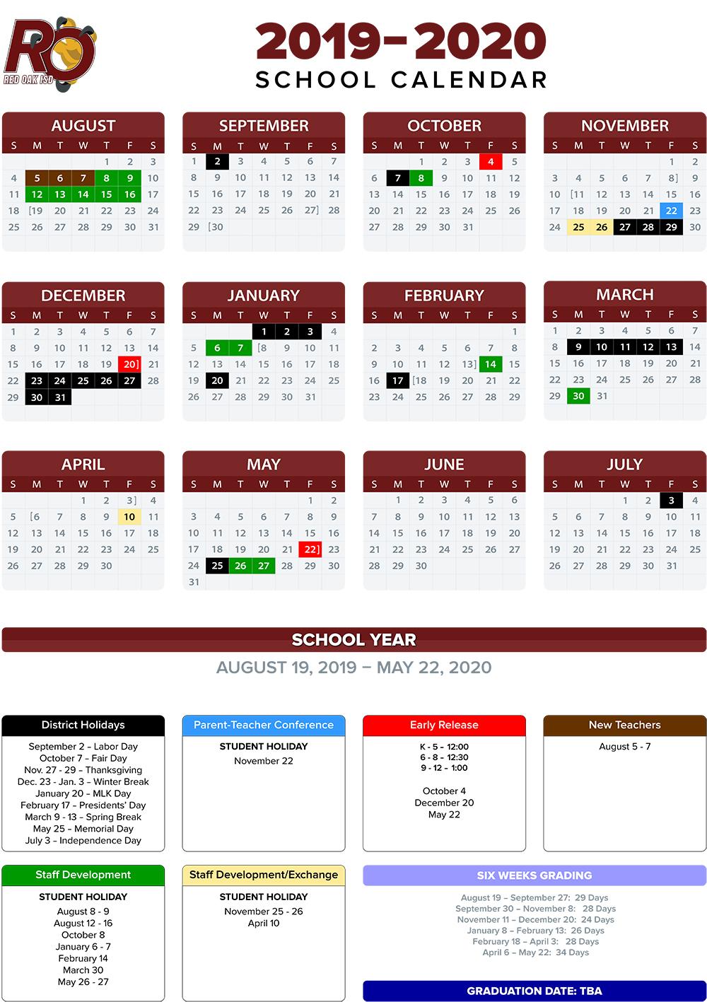 Annual School Calendar / 2019-20 Annual Calendars