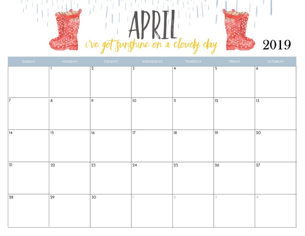 April 2019 Blank Calendar – Printable Calendar 2018-19