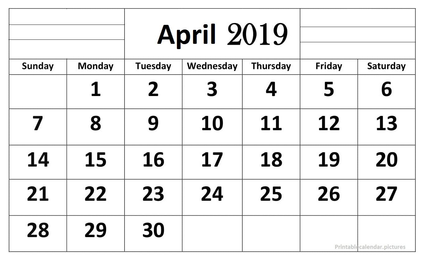April 2019 Calendar Printable Large Print