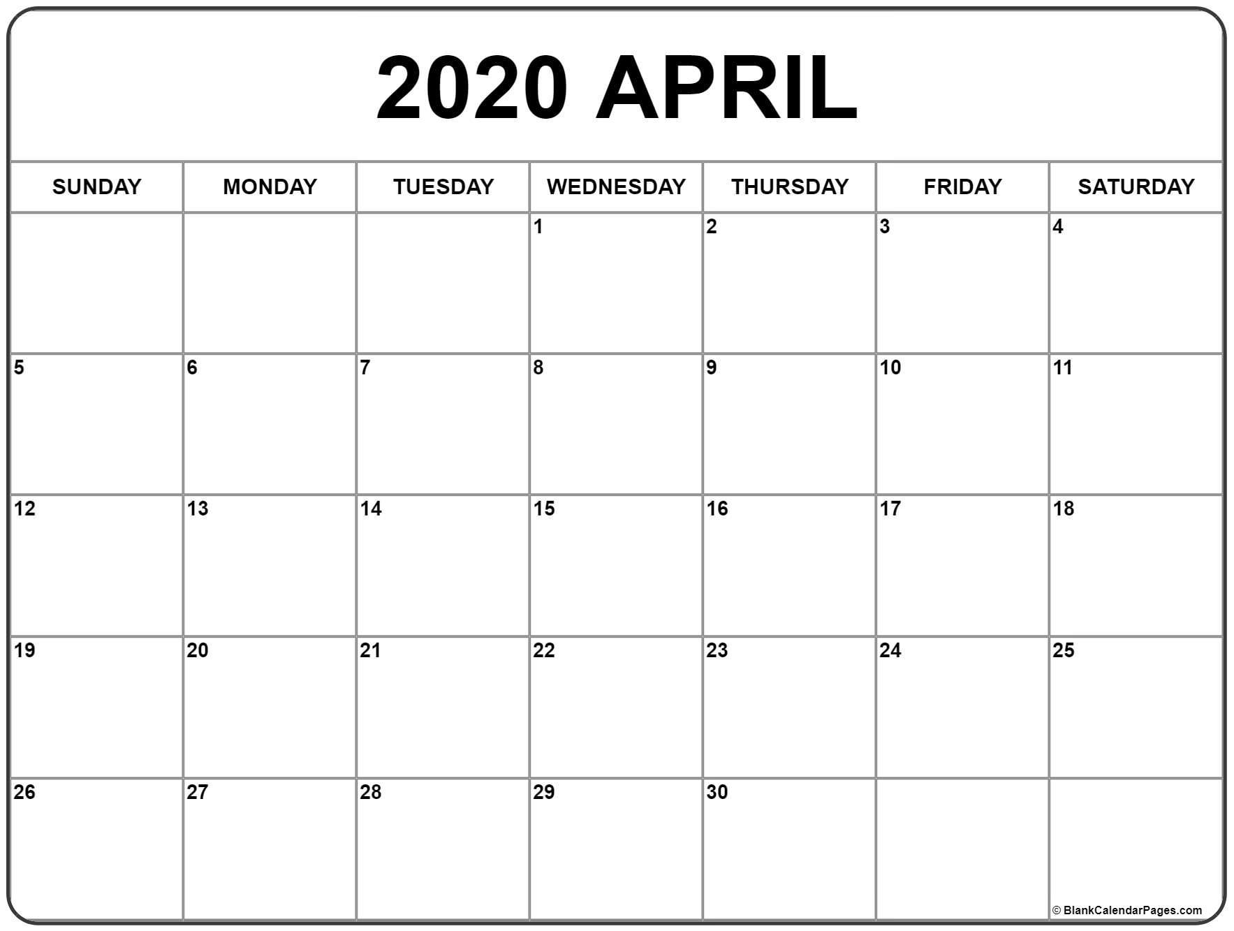 April 2020 Calendar Easter