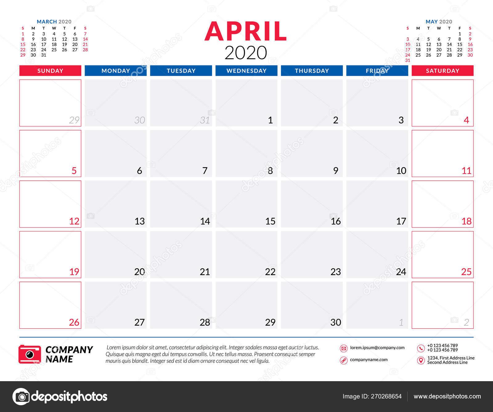 April 2020. Calendar Planner Stationery Design Template. Vector