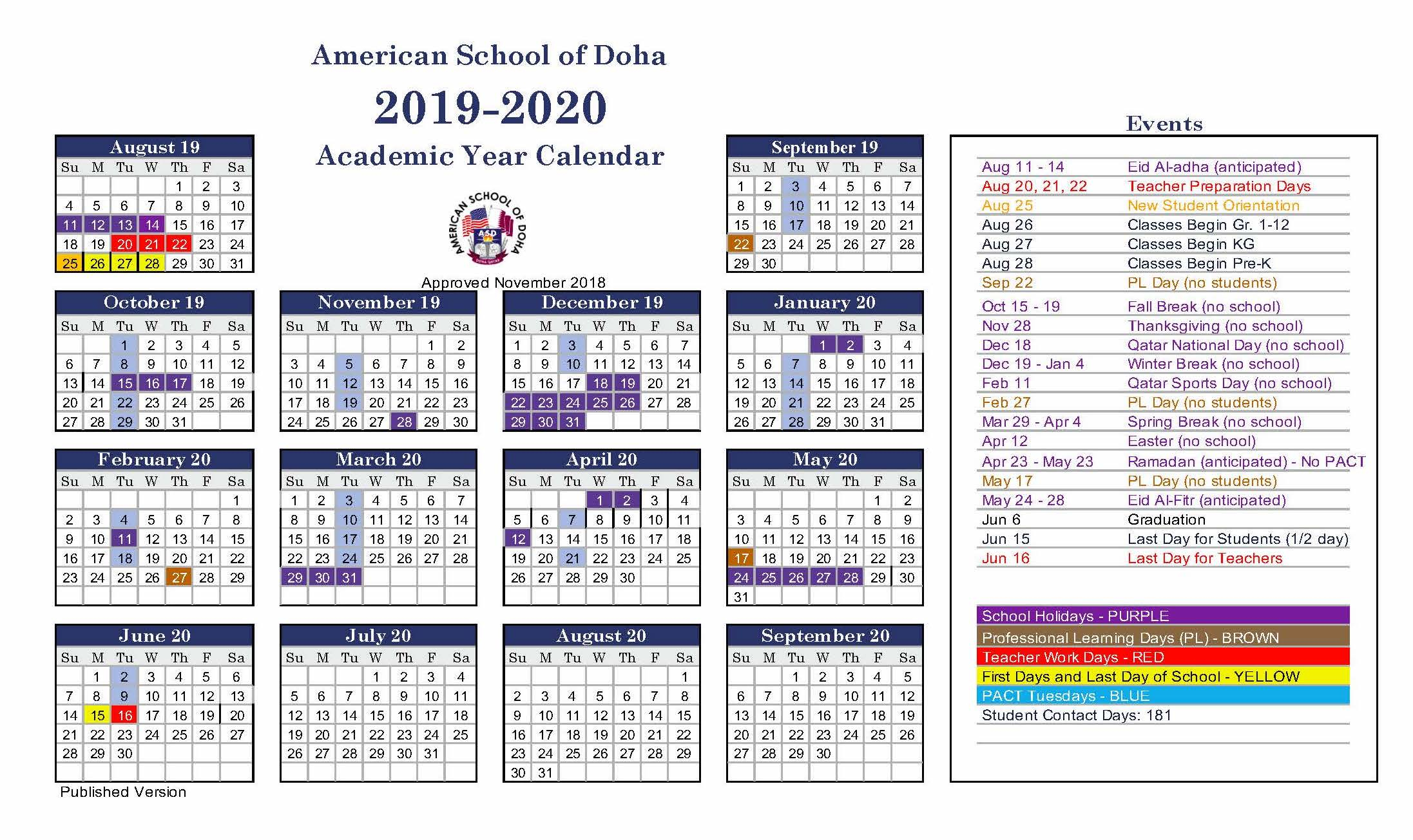 Asd Calendar 2019-2020 - American School Of Doha
