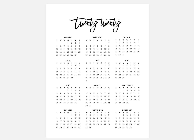 At A Glance 2020 Calendar