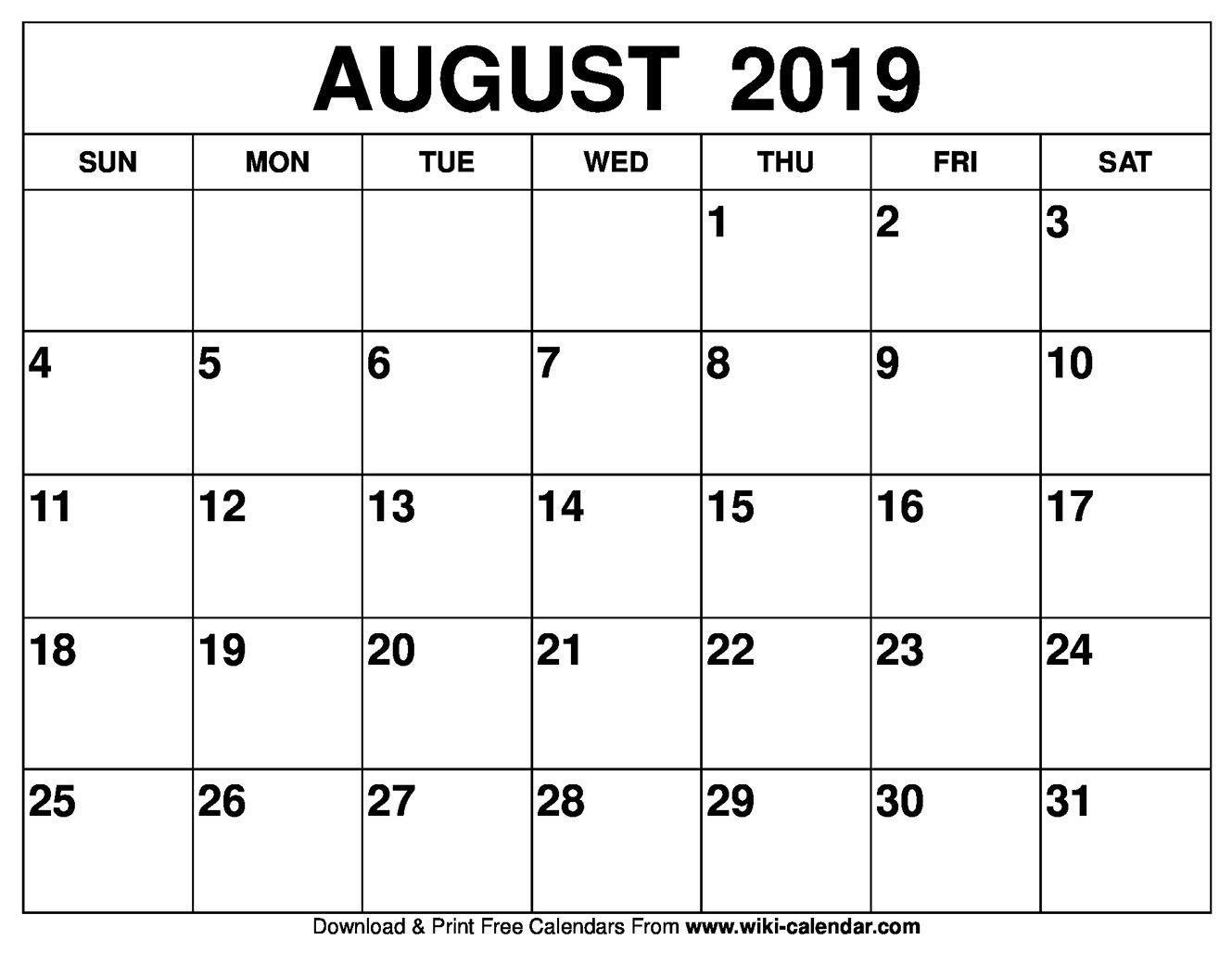 August 2019 Calendar Ireland