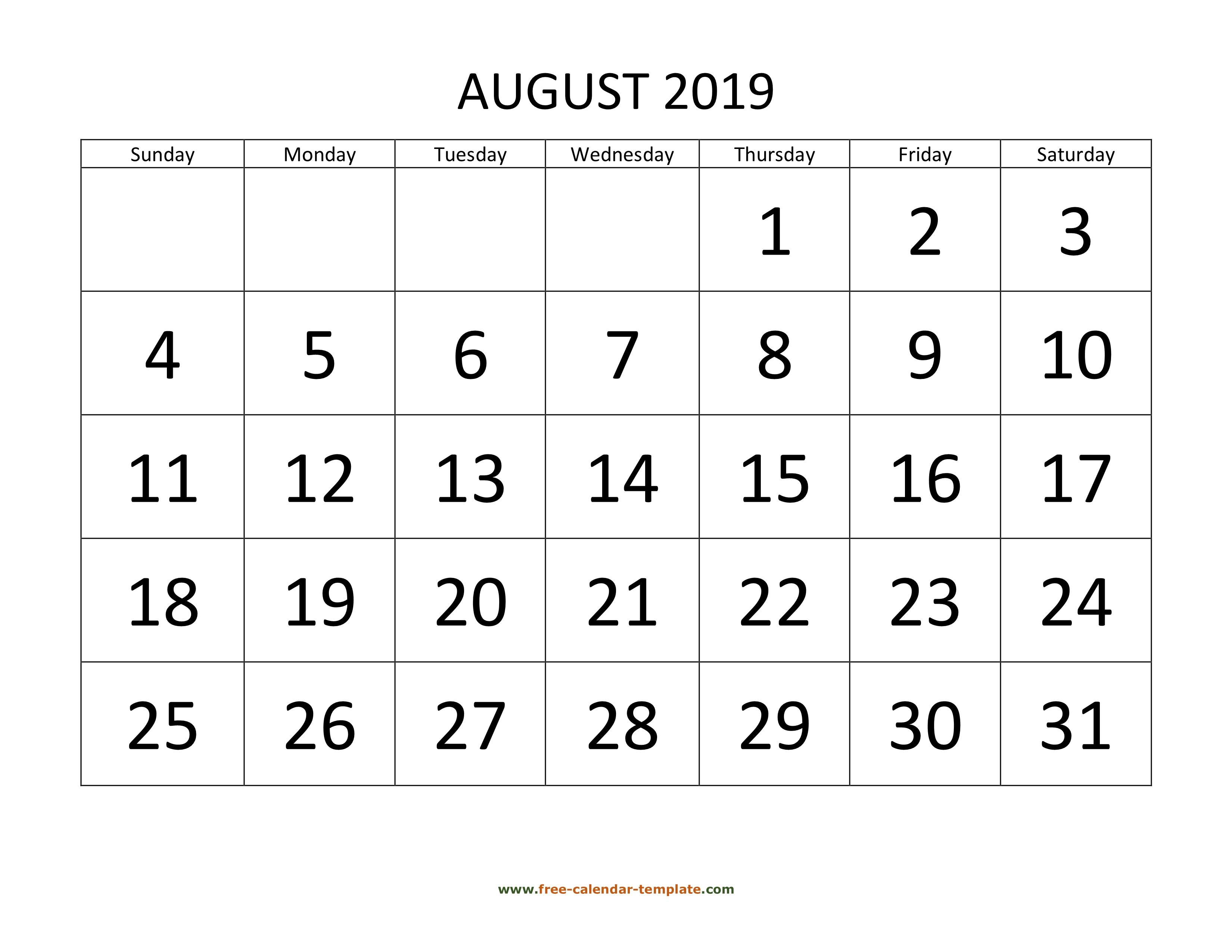 August 2019 Free Calendar Tempplate