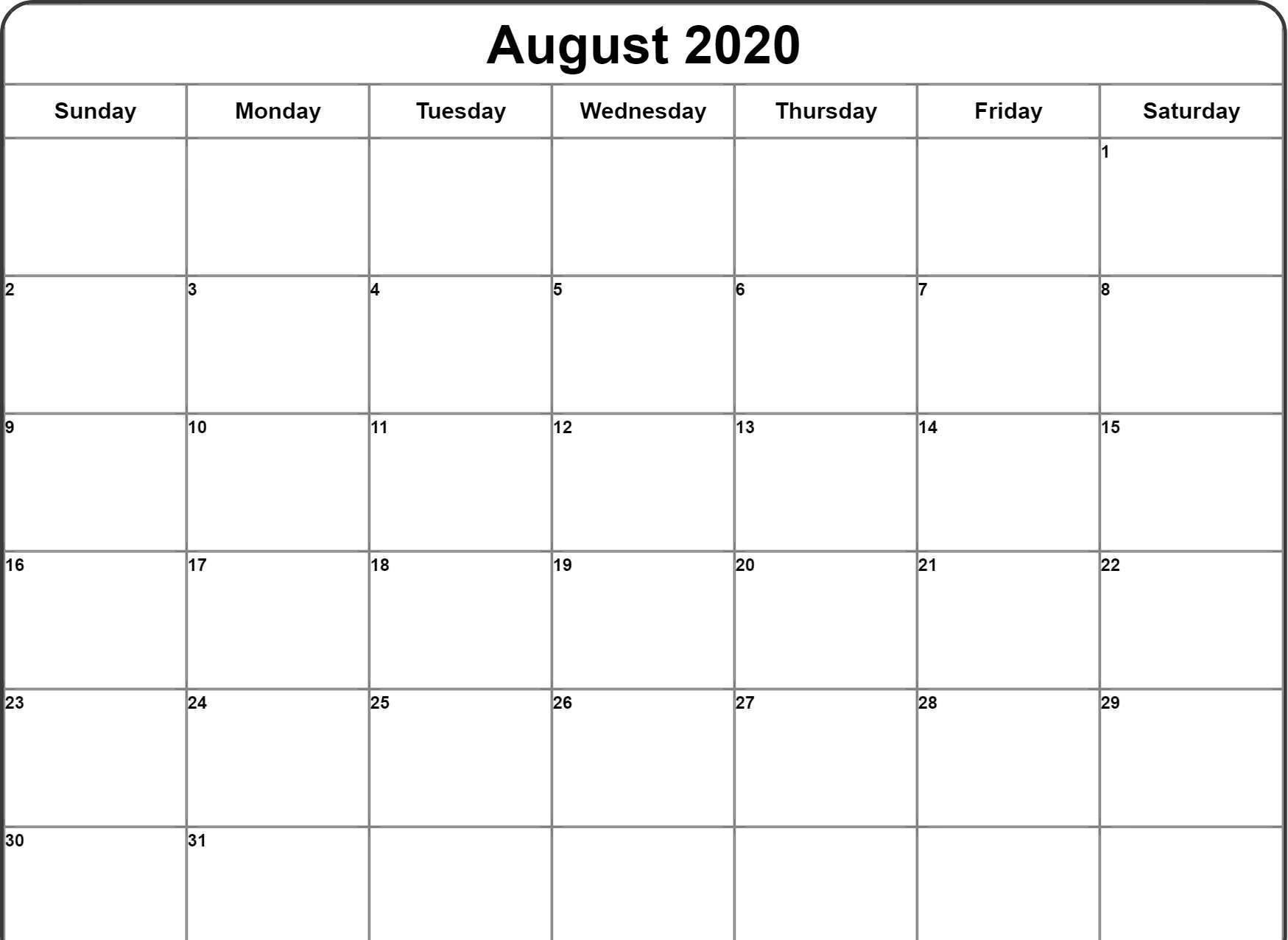 August 2020 Editable Calendar