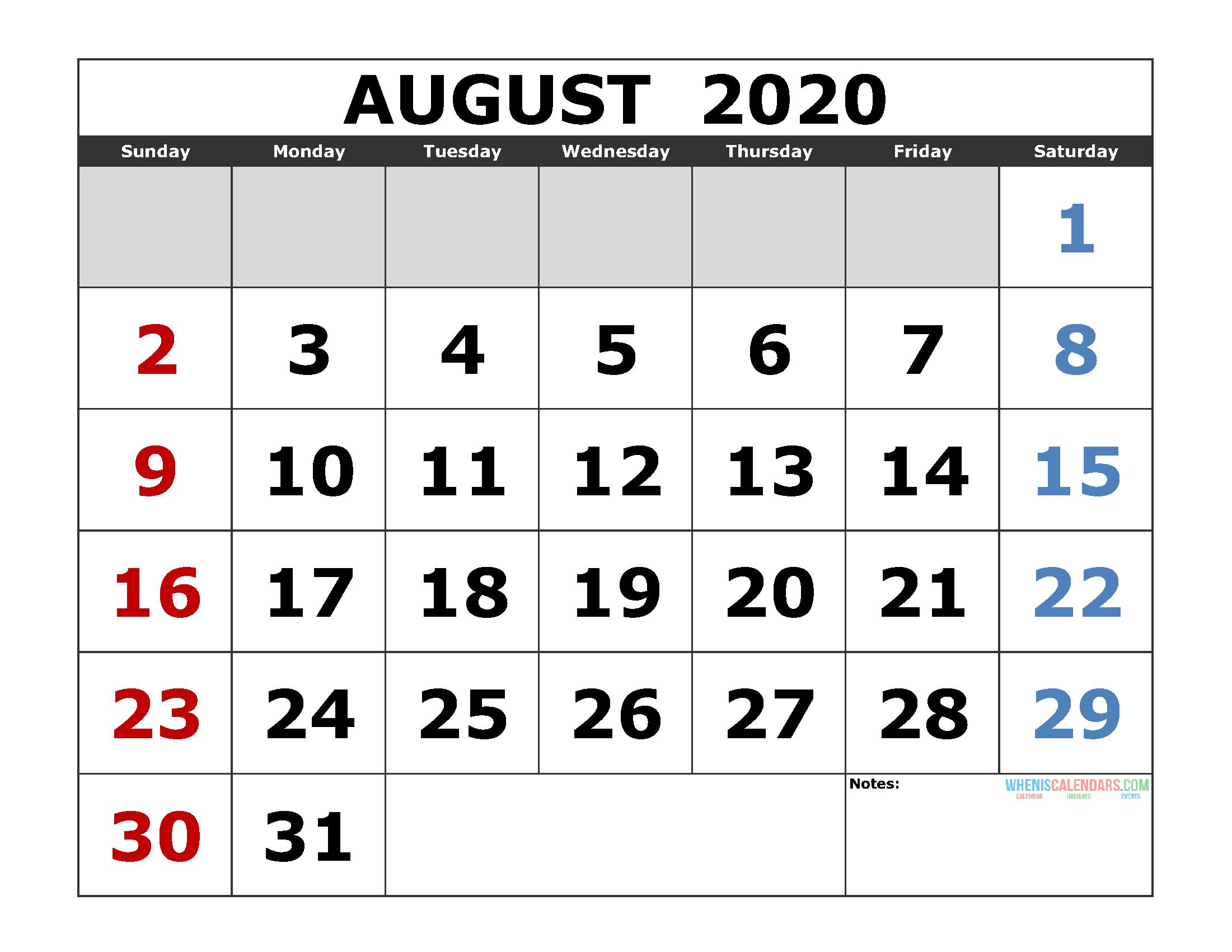 [%August 2020 Printable Calendar Template Excel, Pdf, Image [Us|2020 Calendar For August|2020 Calendar For August%]