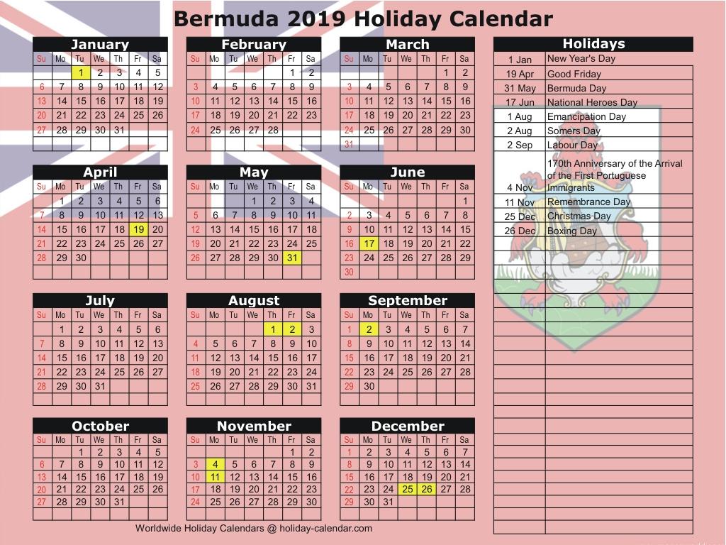 Bermuda 2019 / 2020 Holiday Calendar