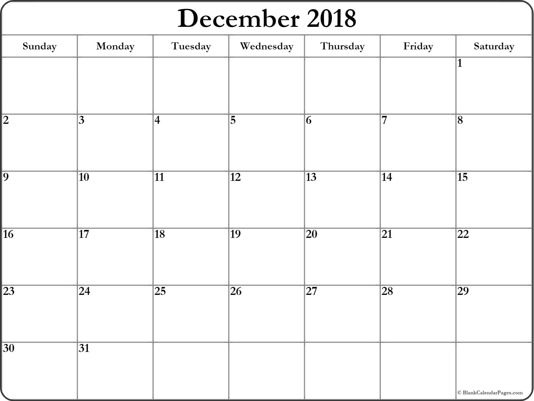 Best} Free* Blank December 2018 Calendar Templates Printable With Notes