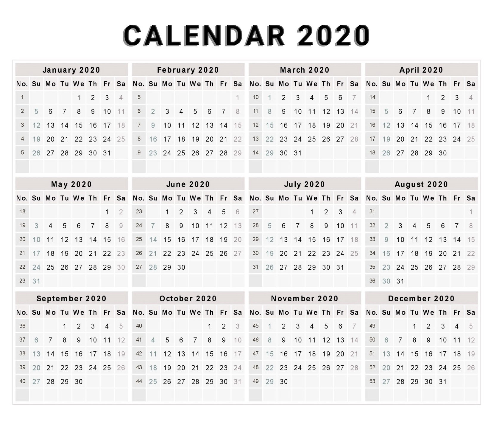 Blank 2020 One Page Calendar Printable - Free Printable Calendar
