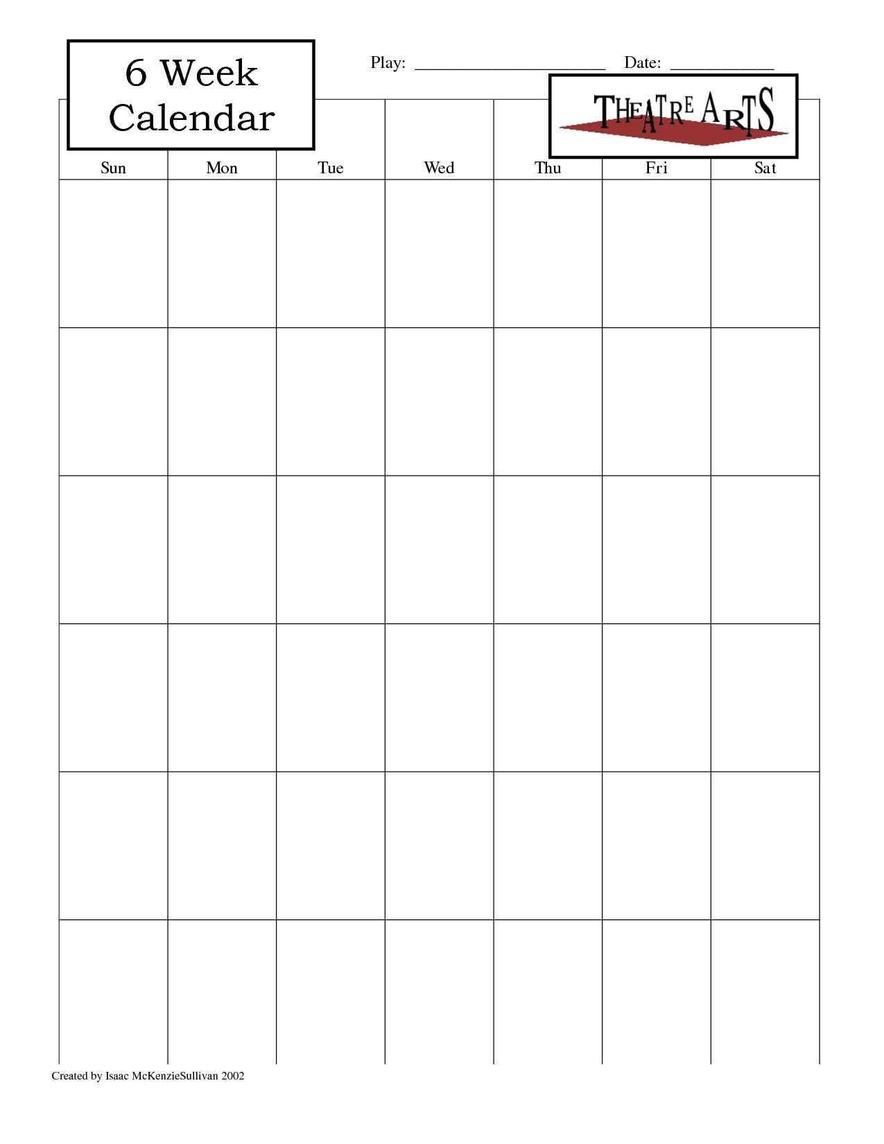 Blank 6 Week Calendar Template With Weeks 25971 Also On 6 Week