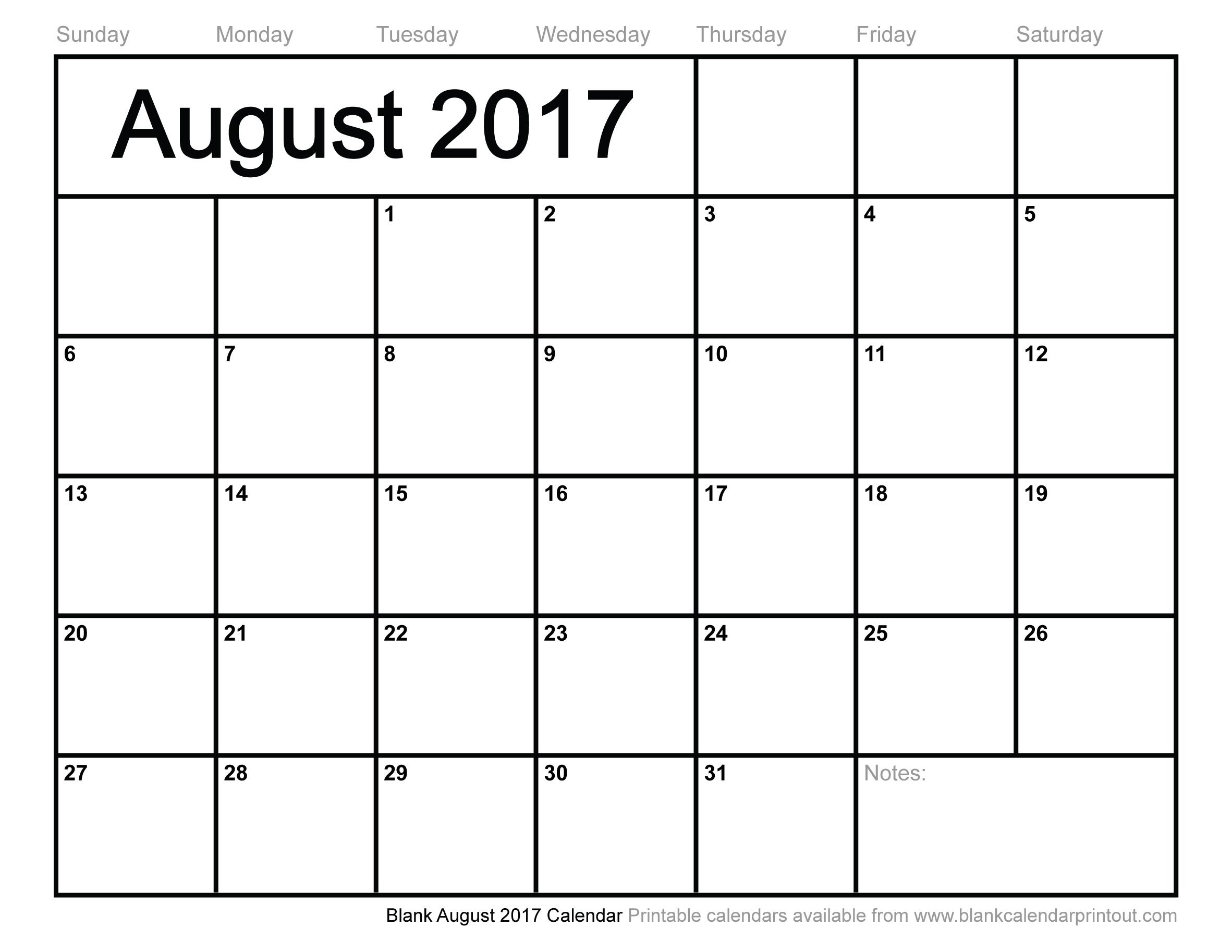 Blank August 2017 Calendar To Print