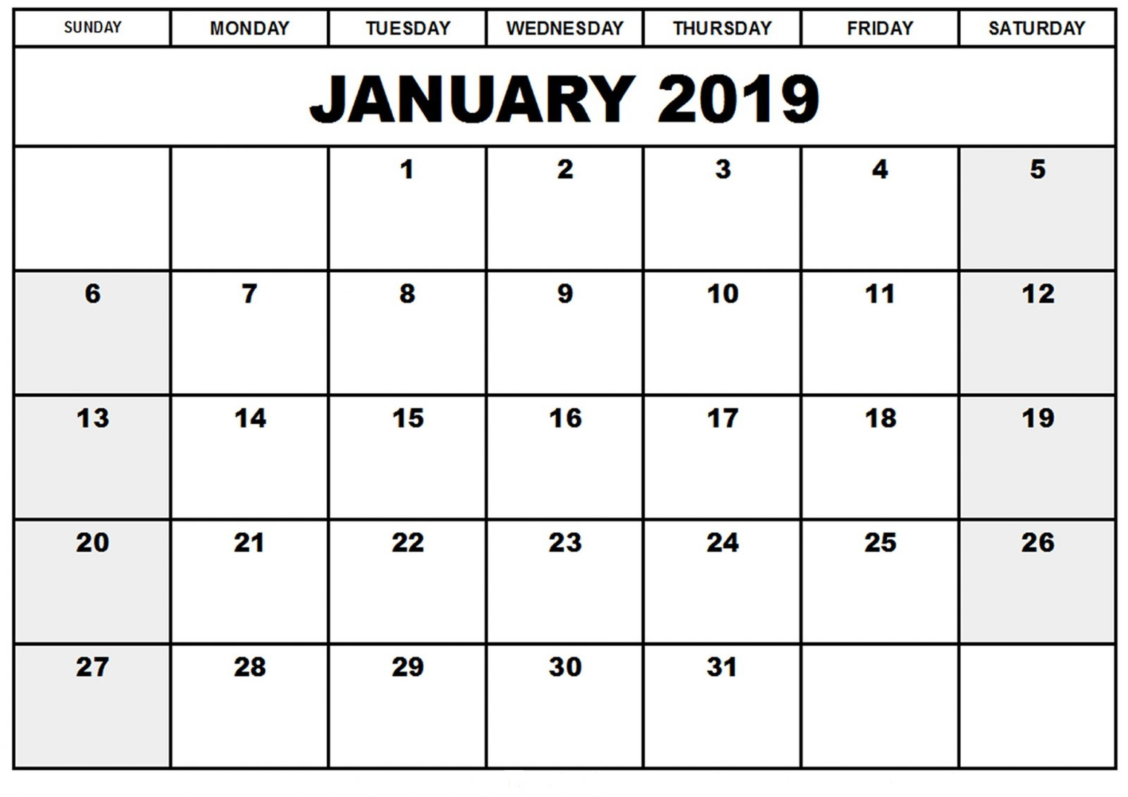 Blank Birthday Calendar