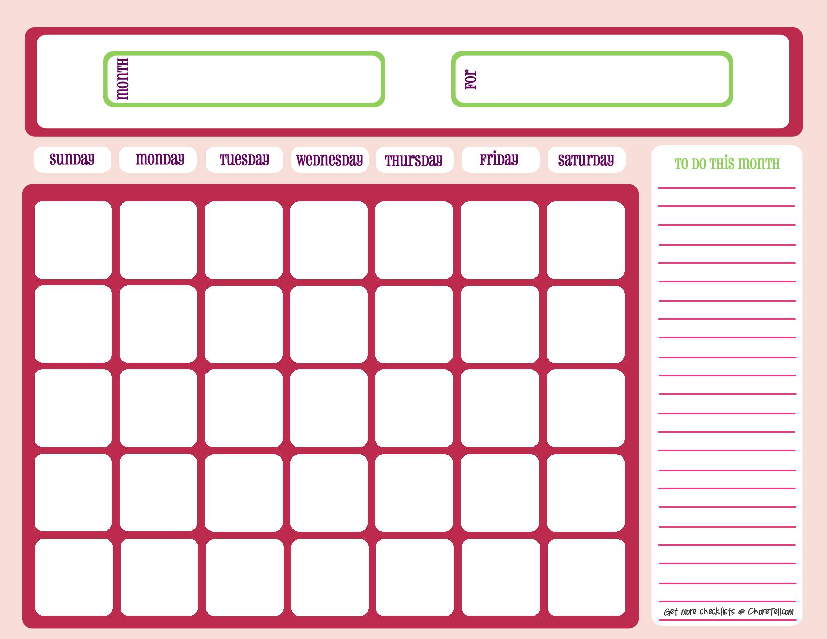 Blank Calendar 1 Month
