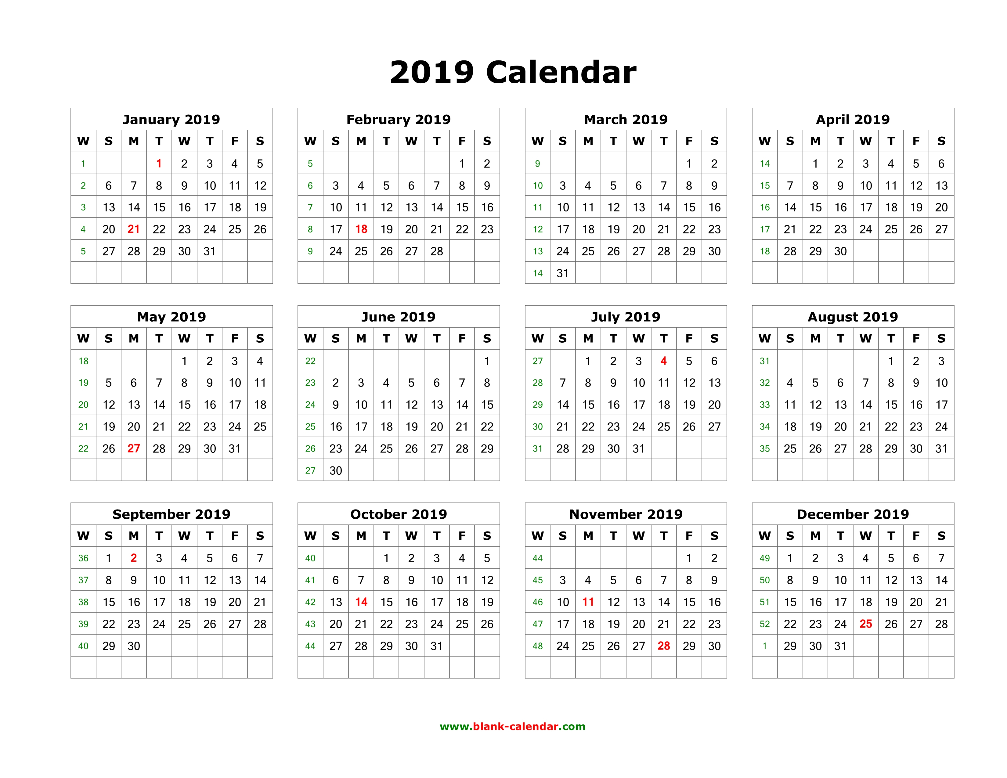 Blank Calendar 12 Months One Page