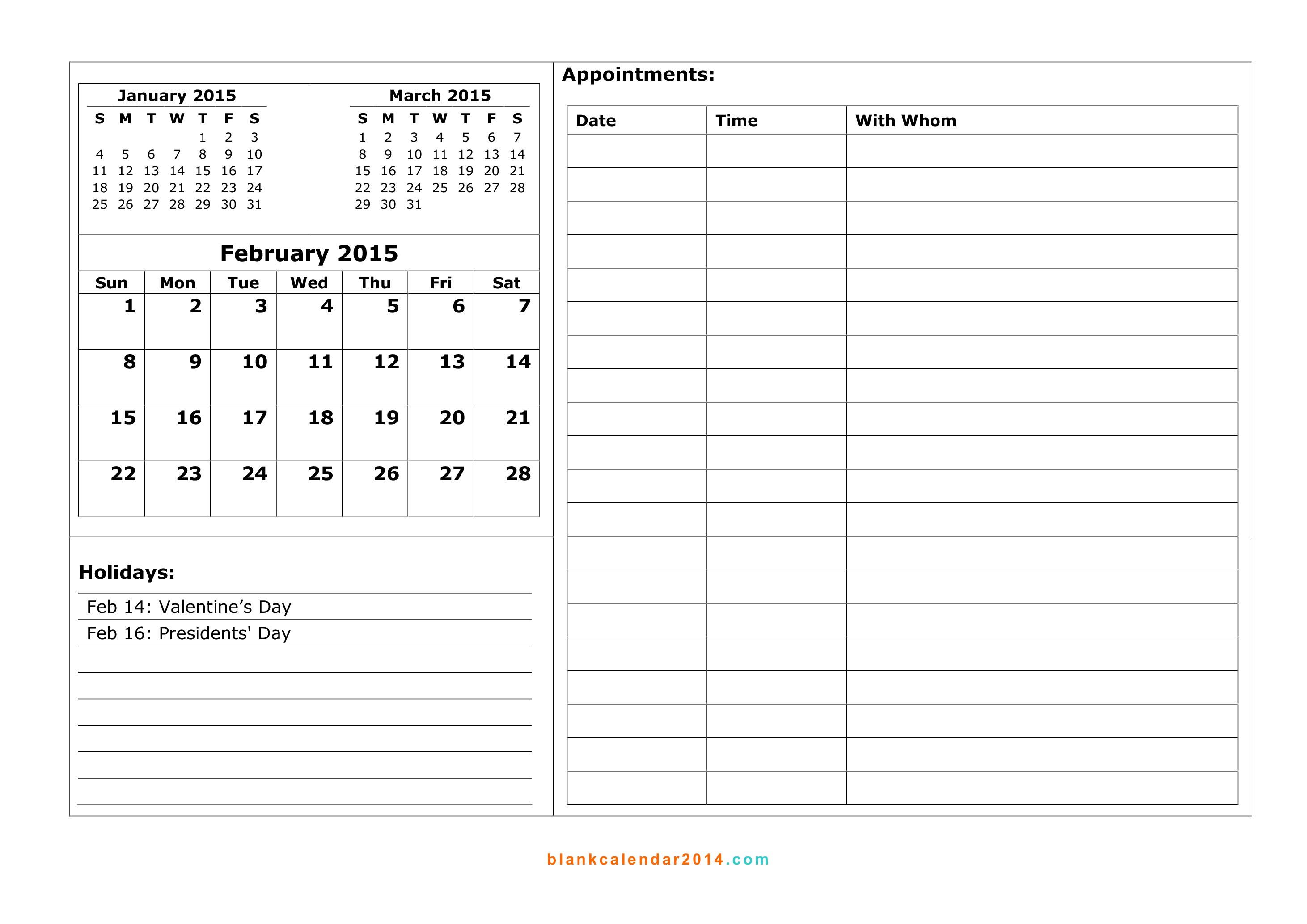 Blank Calendar 2014.com