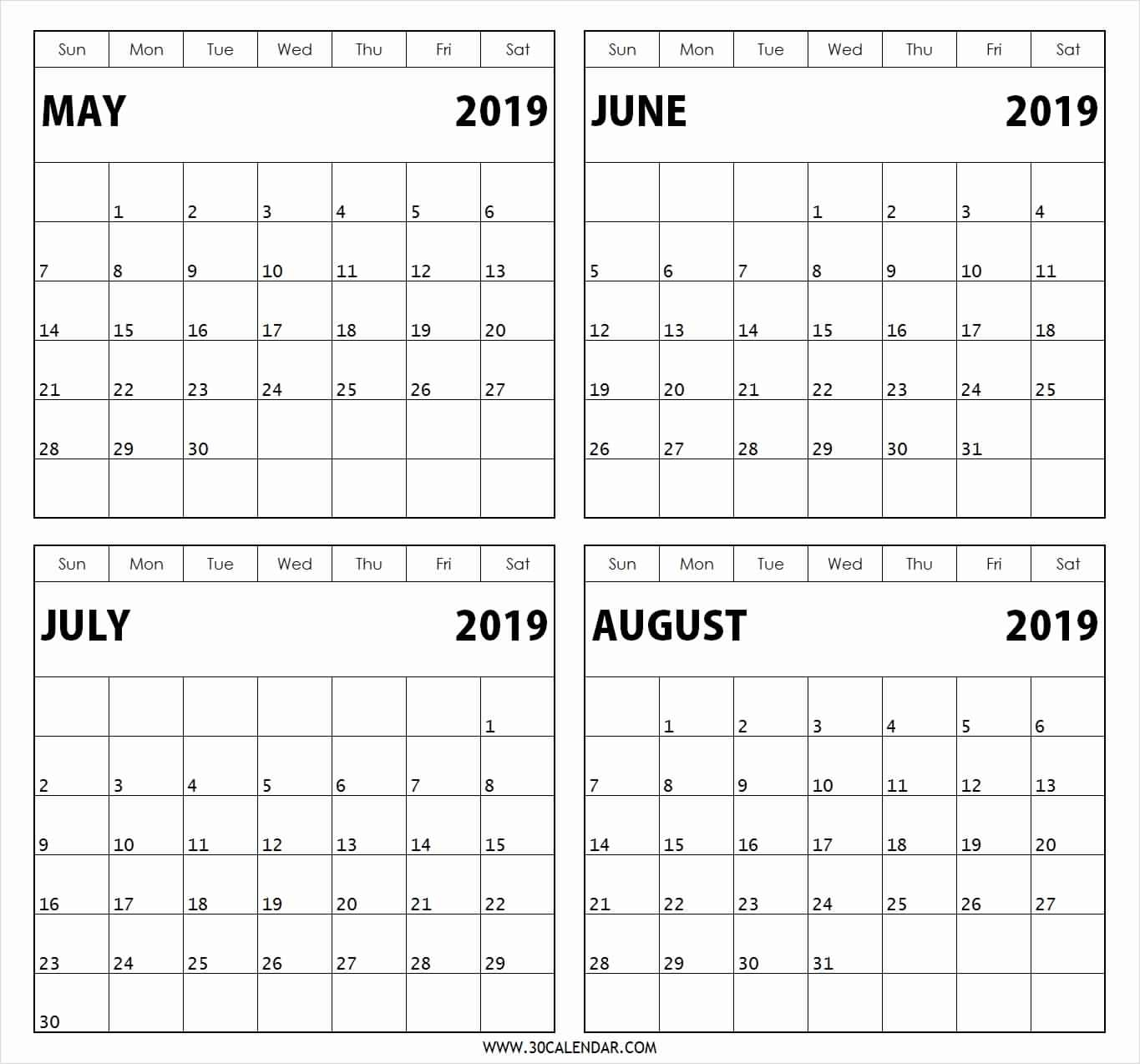 Blank Calendar 3 Months Per Page