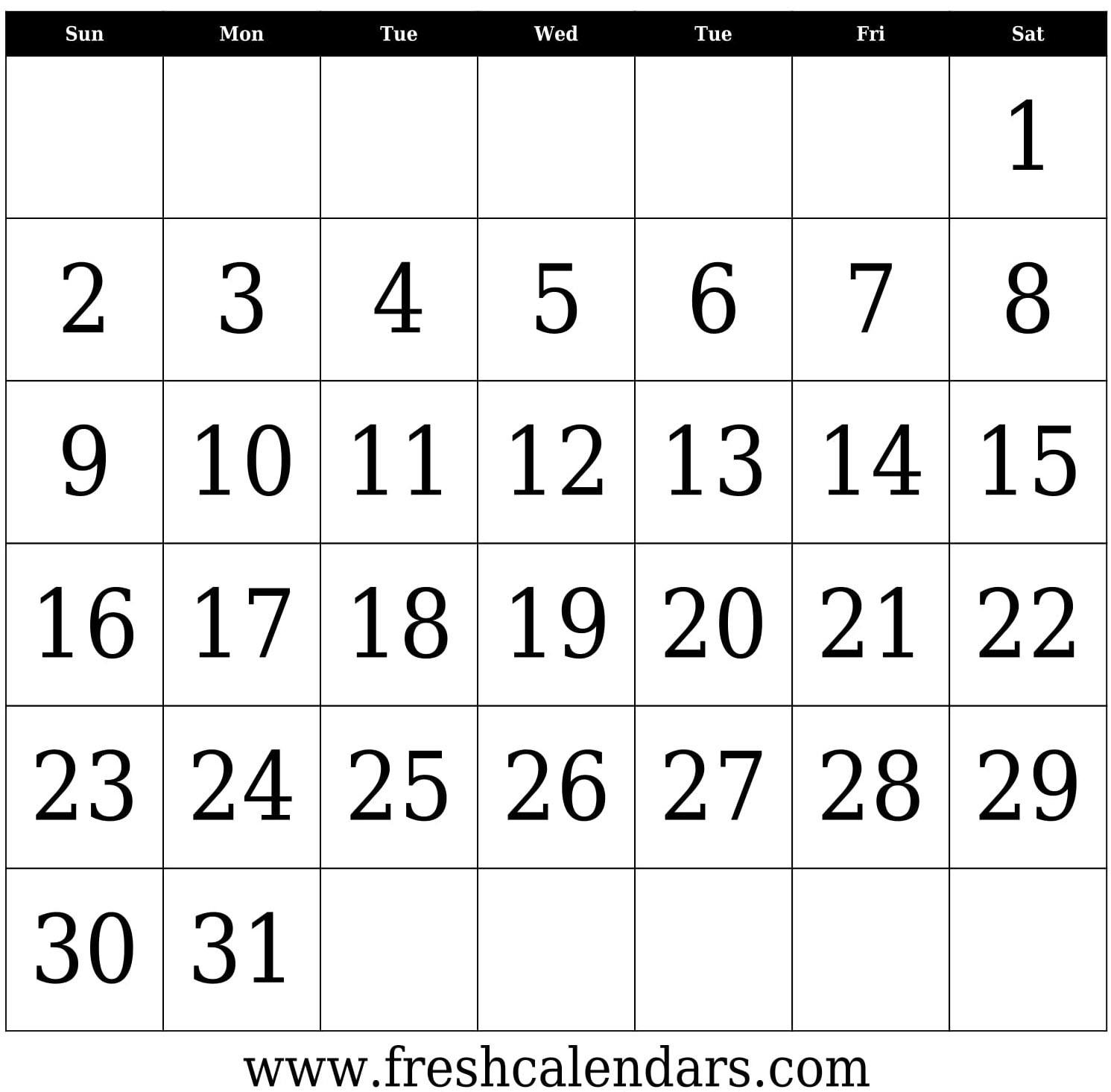 Blank Calendar 31 Days