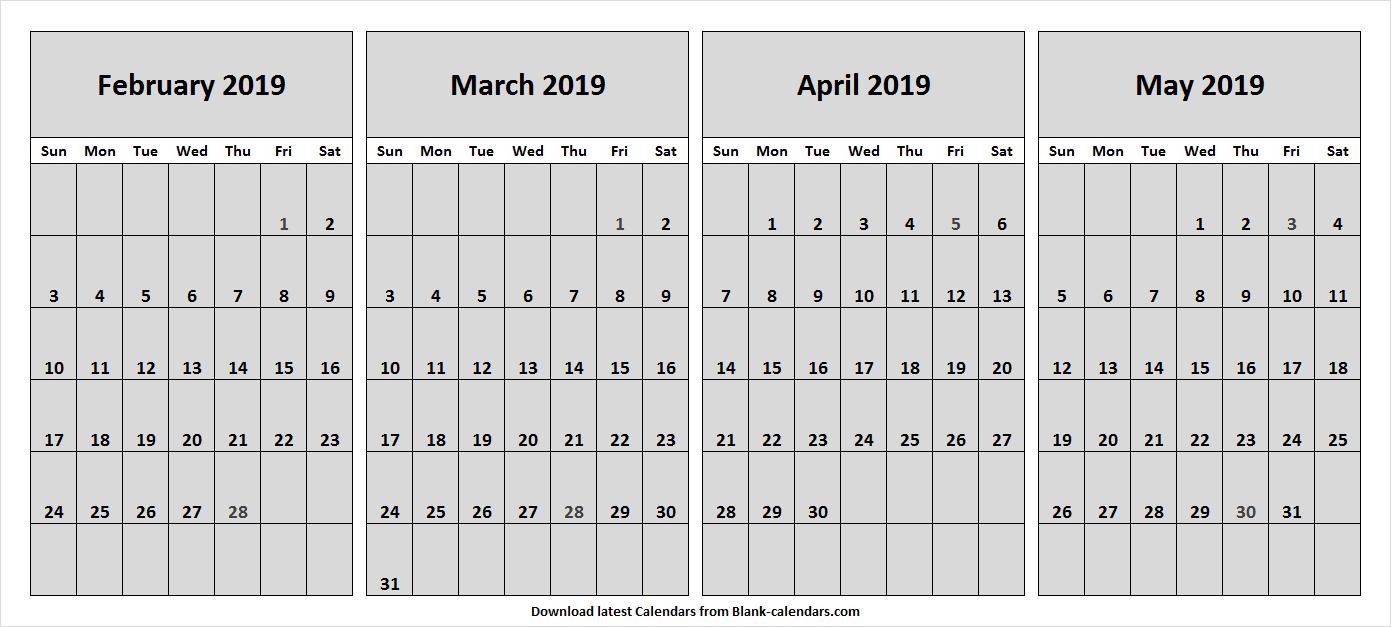 Blank Calendar 4 Month